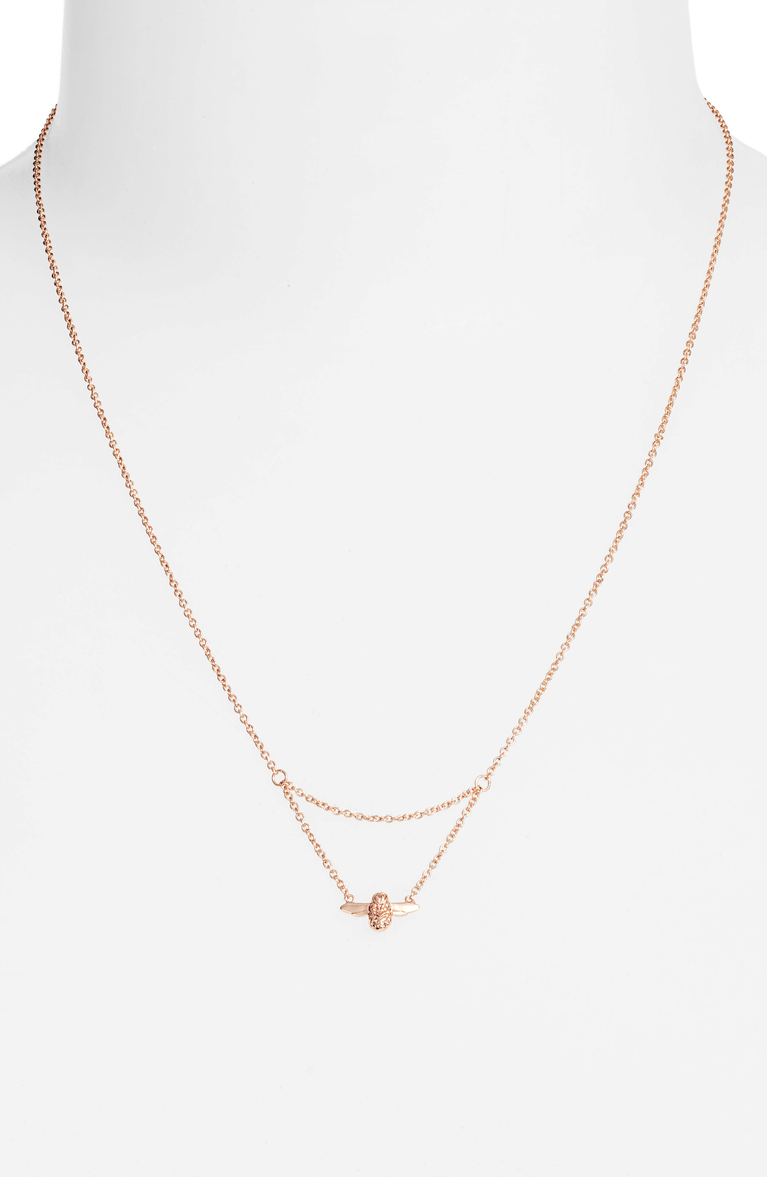 Queen Bee Pendant Necklace,                             Alternate thumbnail 2, color,                             Rose Gold