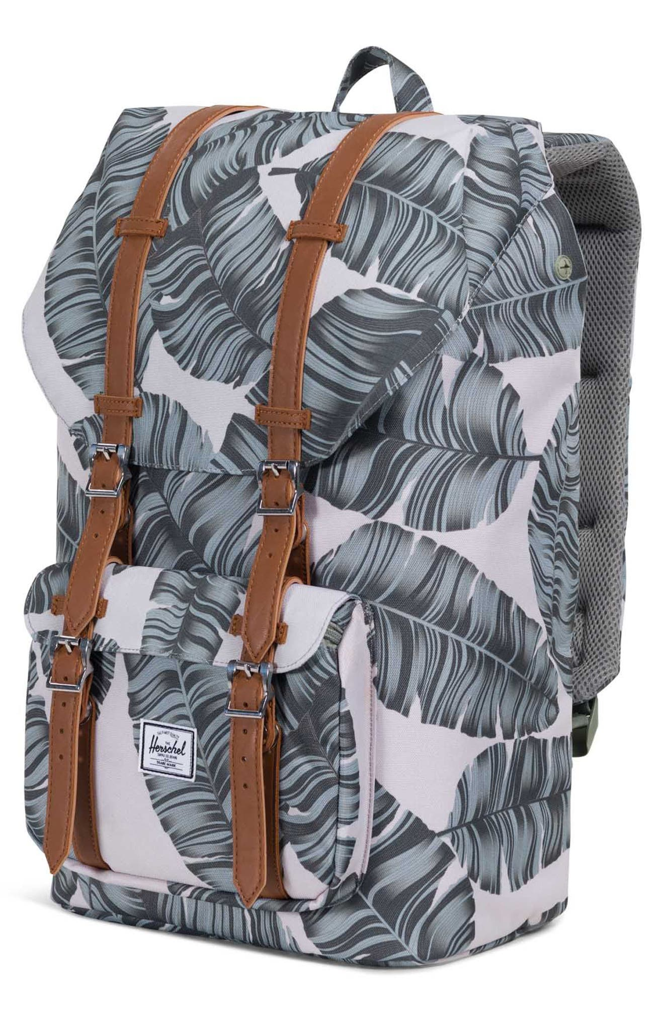 'Little America' Backpack,                             Alternate thumbnail 4, color,                             Silver Birch Palm/ Tan