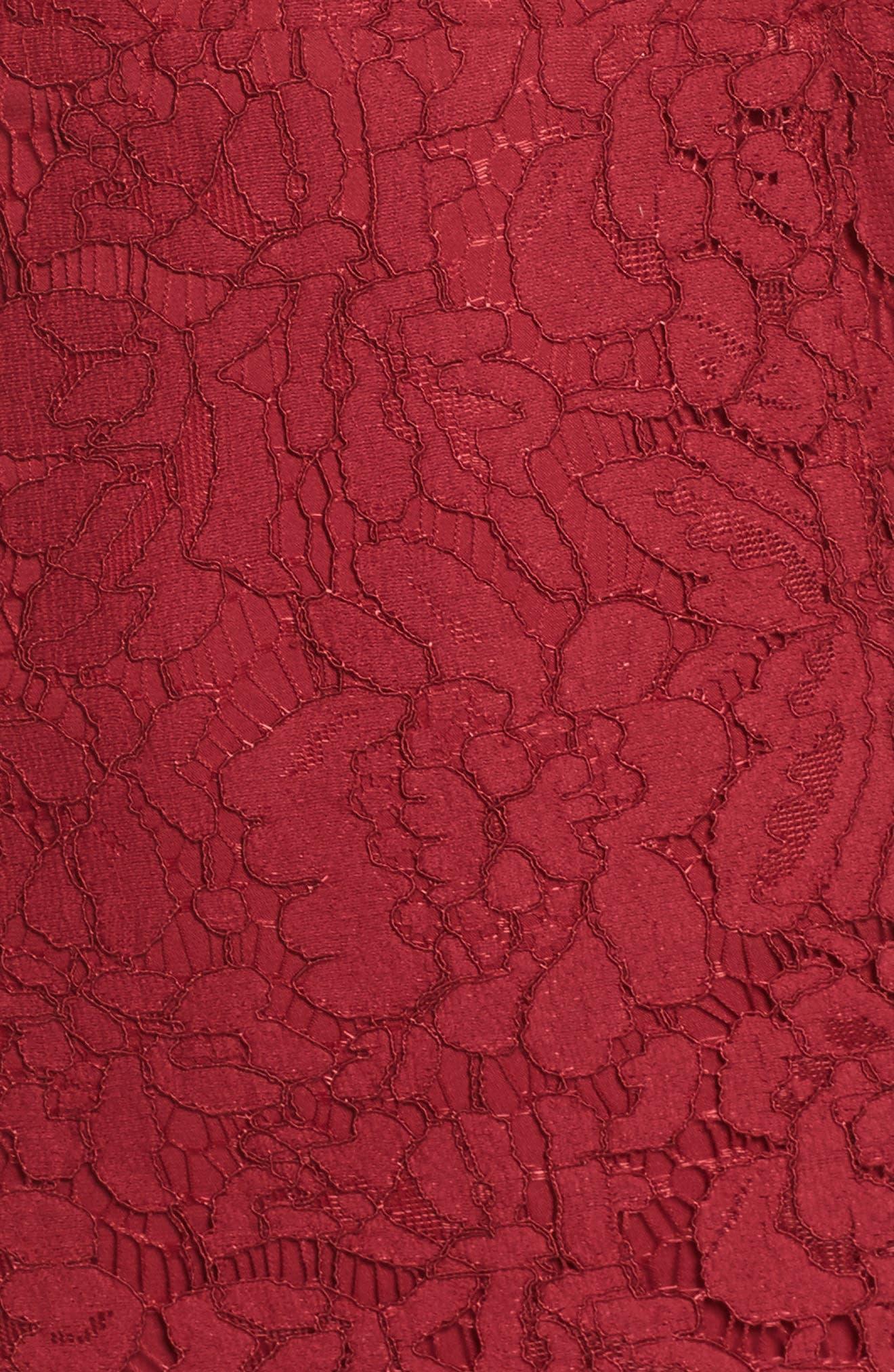 Fame & Partners Everett Lace Gown,                             Alternate thumbnail 5, color,                             Burgundy