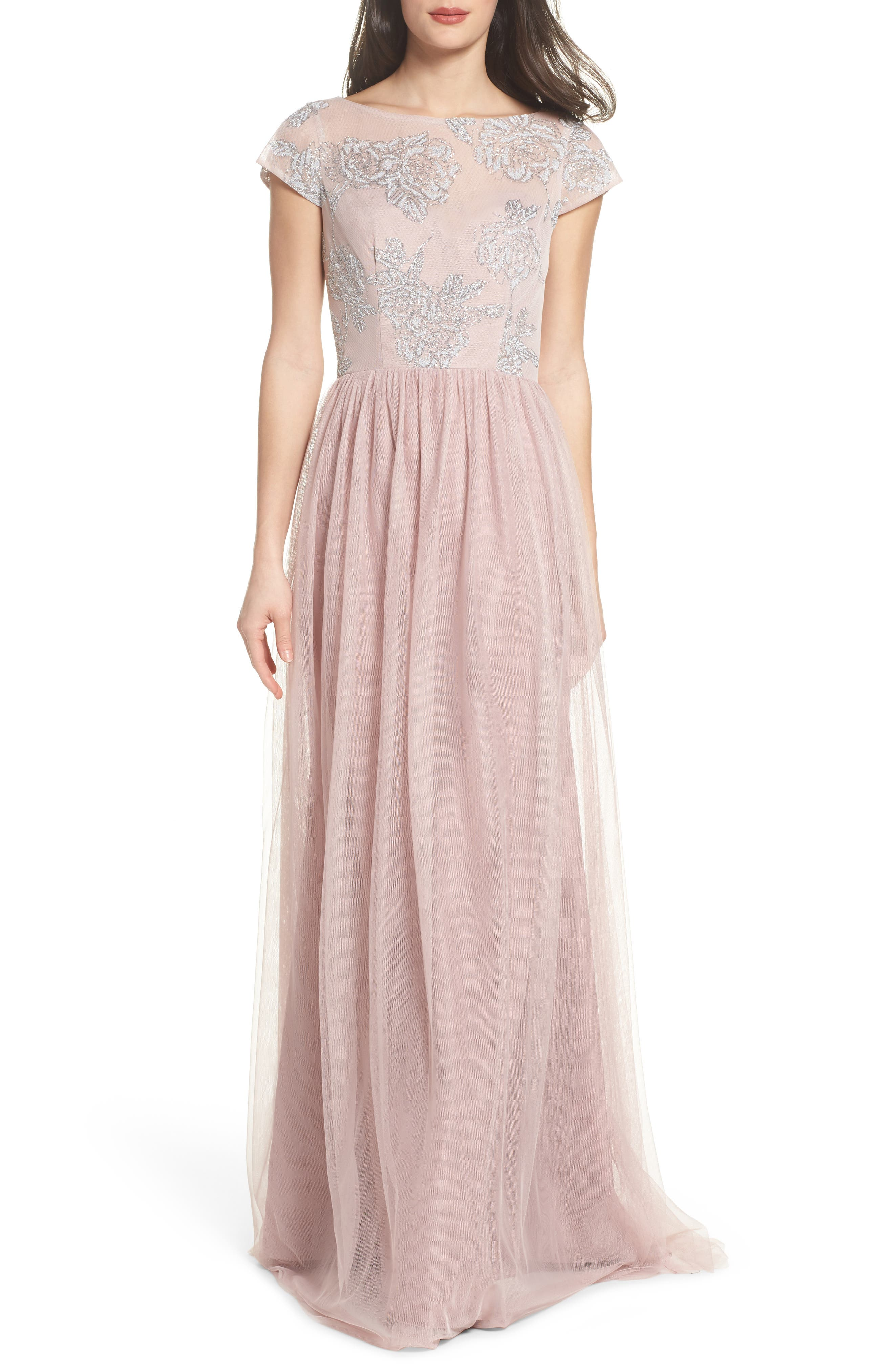 Embroidered Bodice Net Gown,                             Main thumbnail 1, color,                             Dusty Rose
