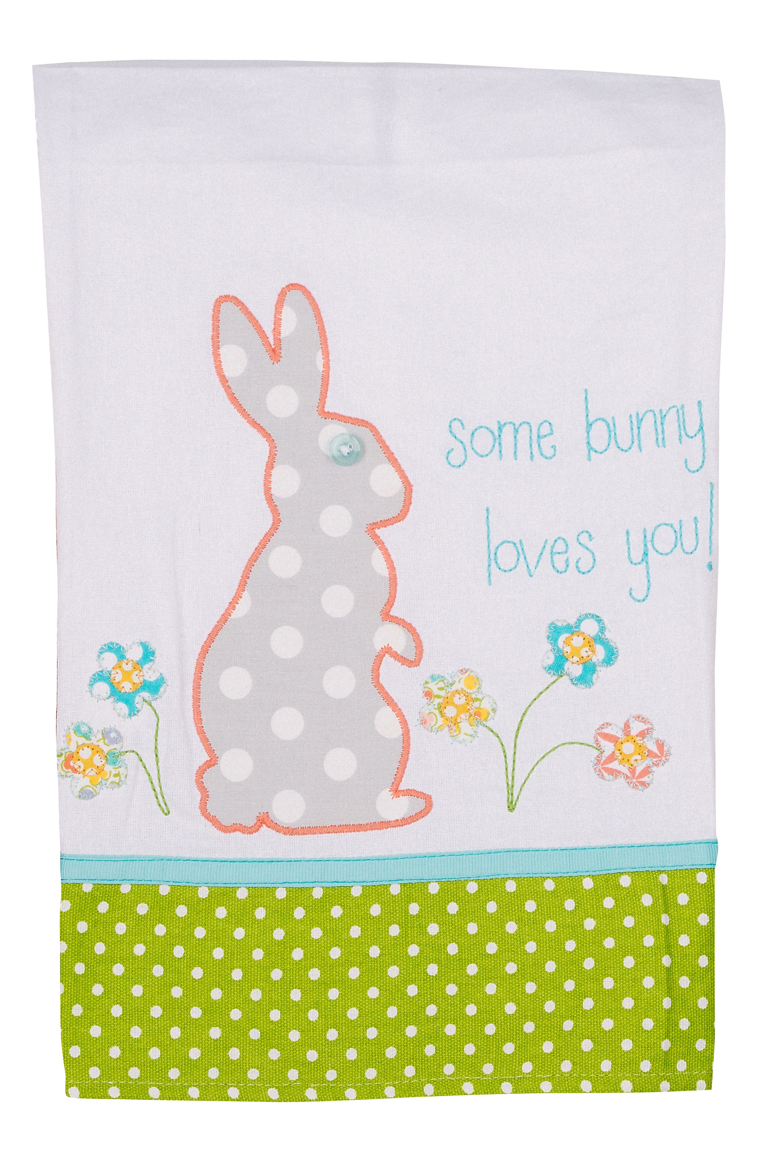 Some Bunny Love You Tea Towel,                         Main,                         color, Green/ White