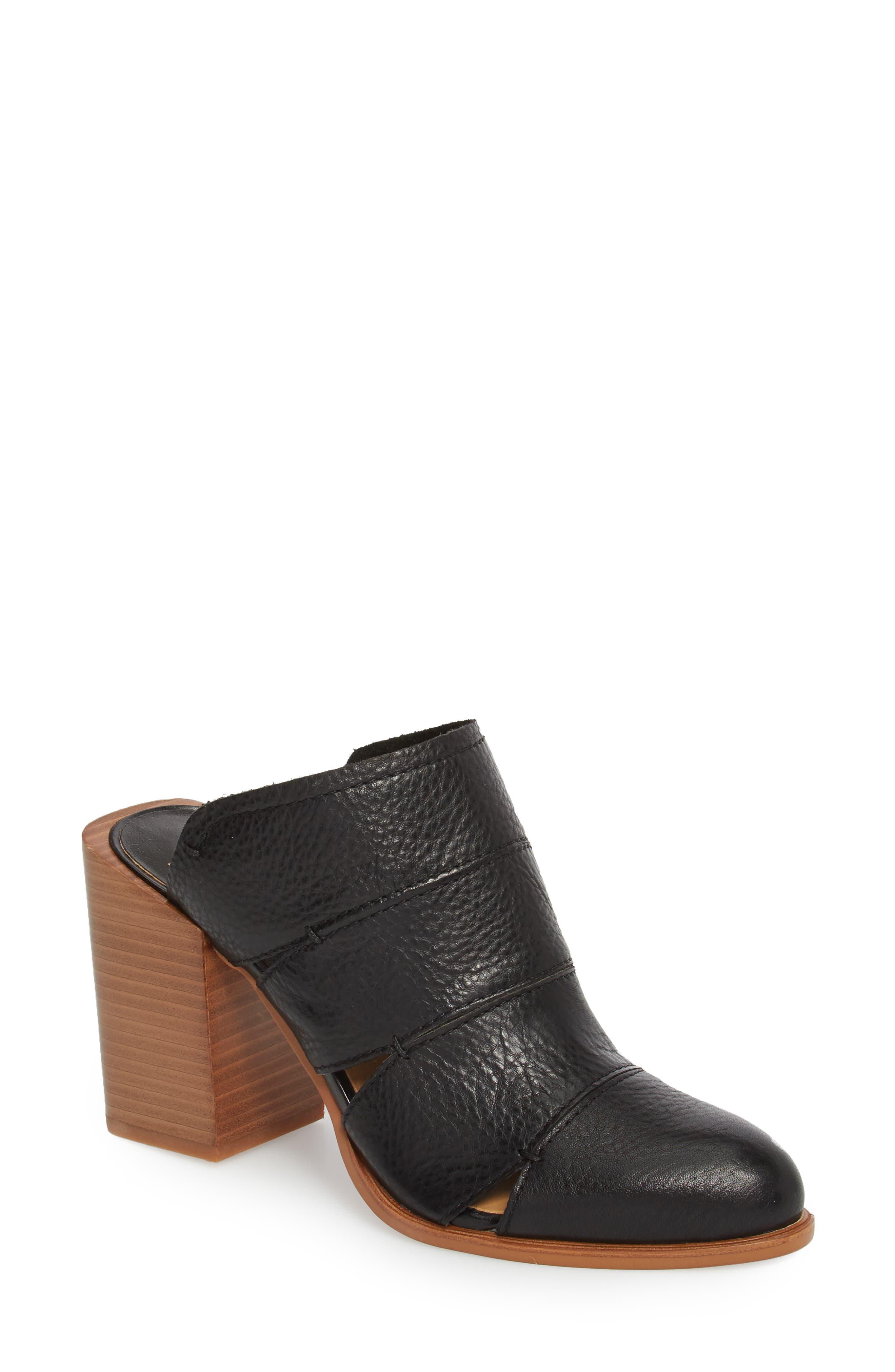Makeo Mule,                             Main thumbnail 1, color,                             Black Leather