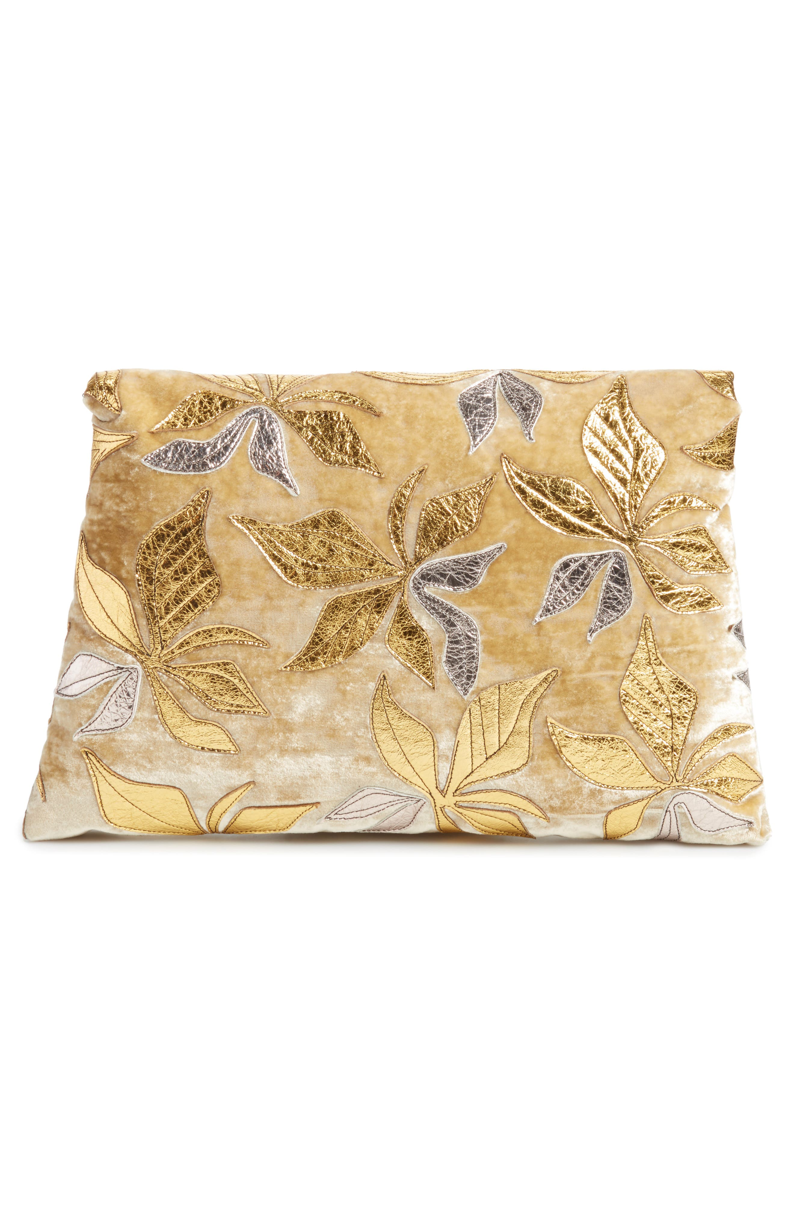 Floral Velvet Envelope Clutch,                             Alternate thumbnail 3, color,                             Gold/ Green