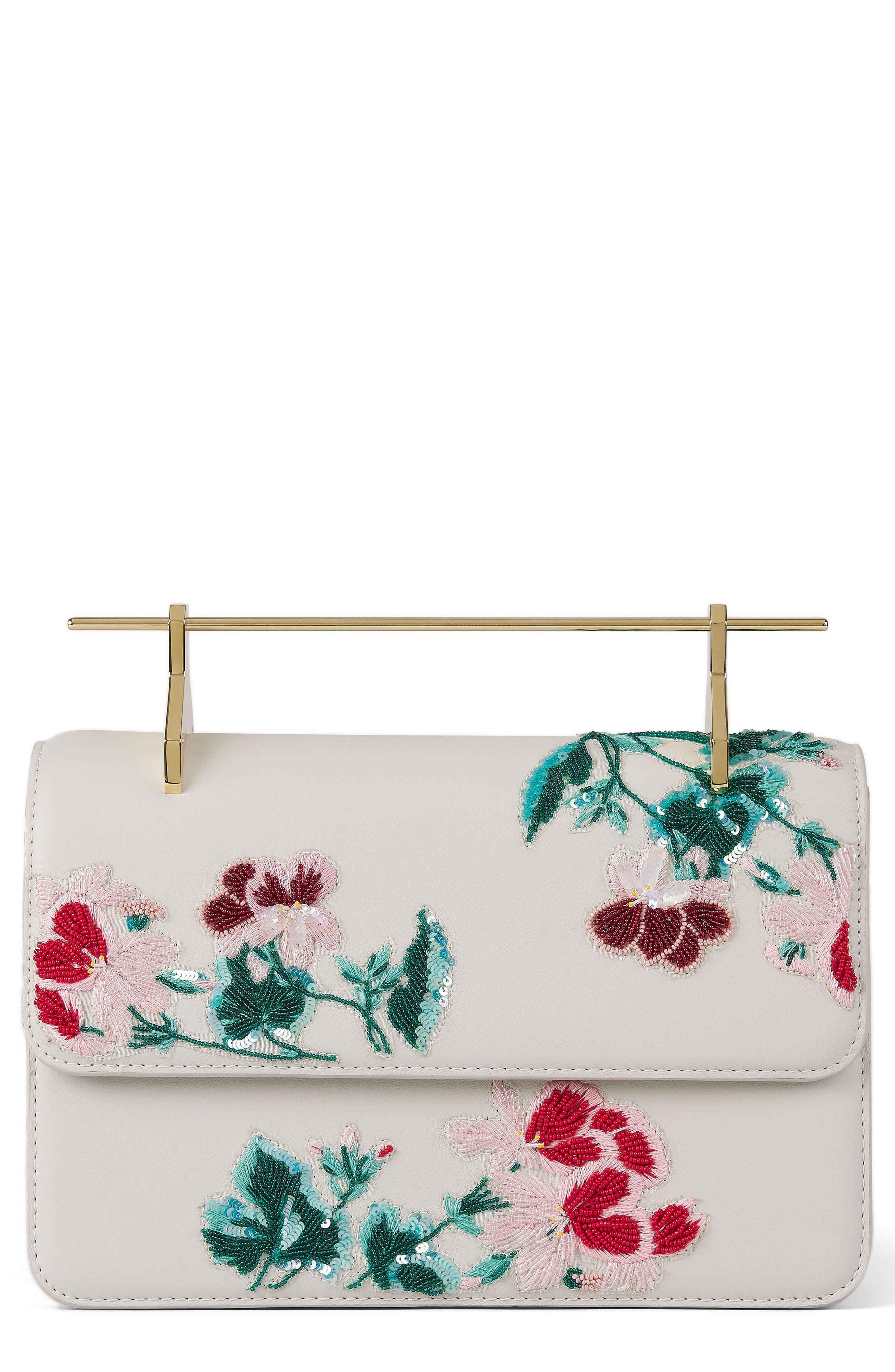 La Fleur du Mal Embellished Calfskin Leather Shoulder Bag,                         Main,                         color, Pnk Mnt Btnical Embrdery Gld