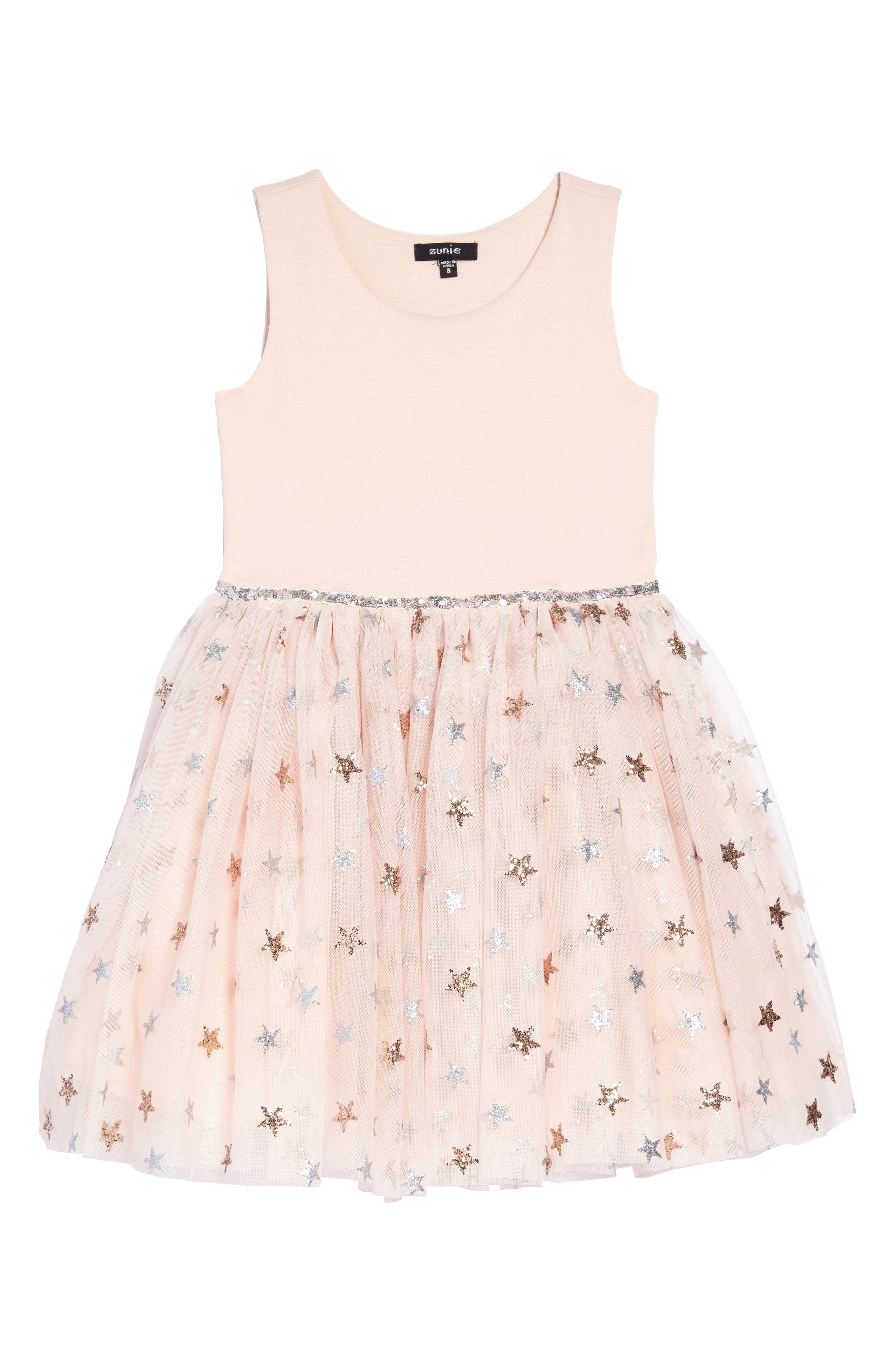 Glitter Star Ponte & Tulle Dress,                         Main,                         color, Blush