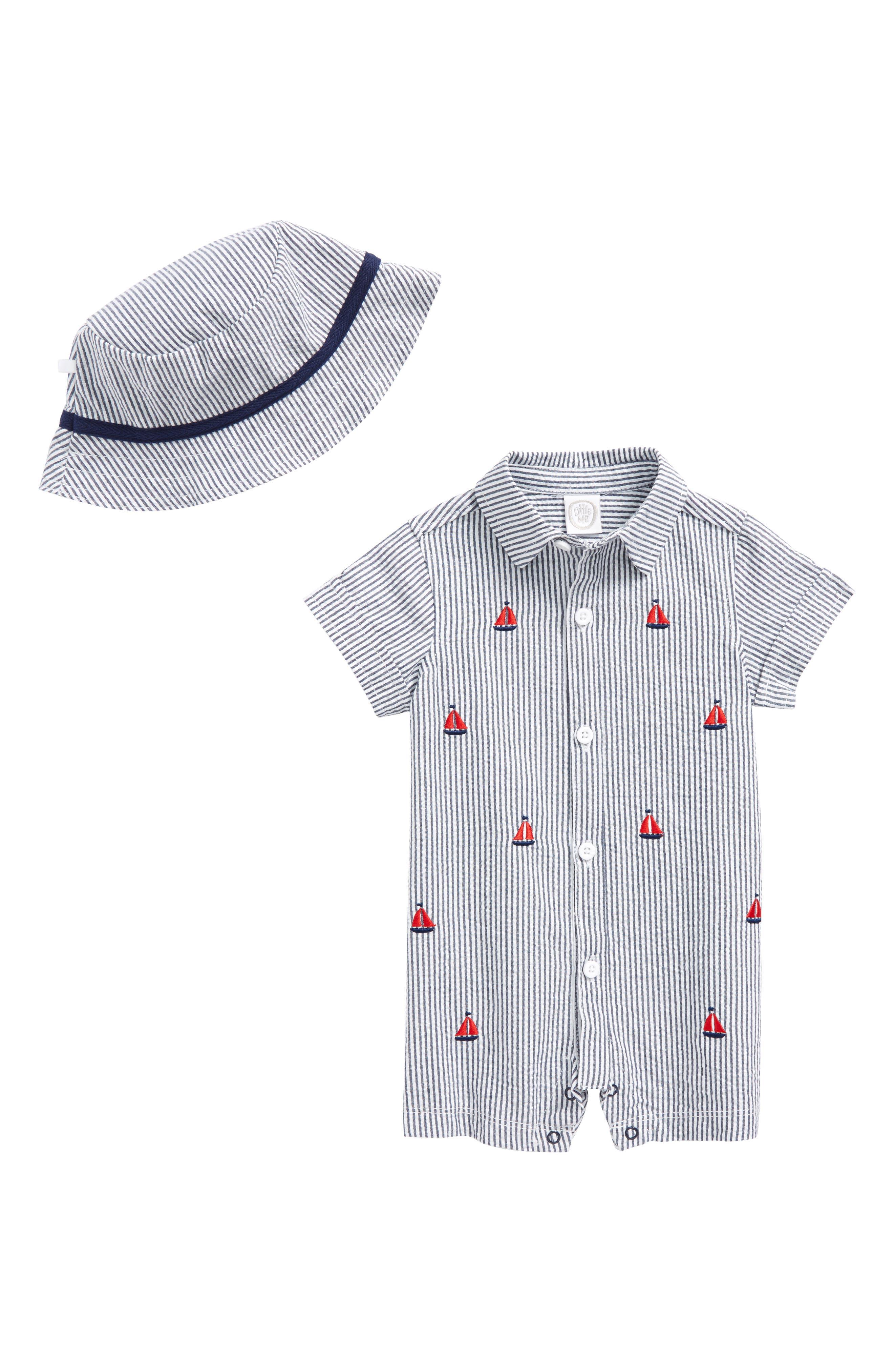 Boating Romper & Hat Set,                             Main thumbnail 1, color,                             Navy