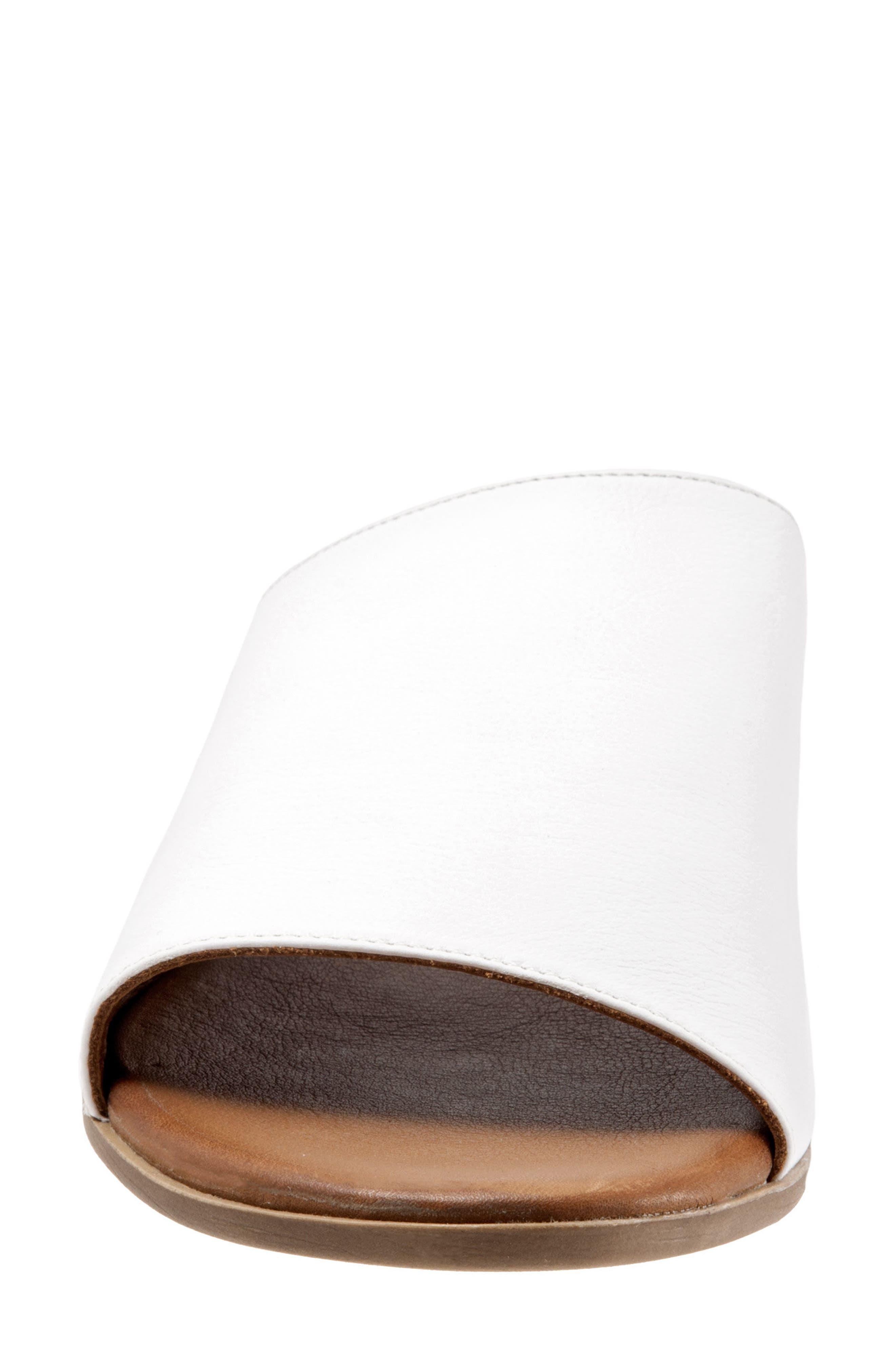 Jory Slide Sandal,                             Alternate thumbnail 4, color,                             White Leather