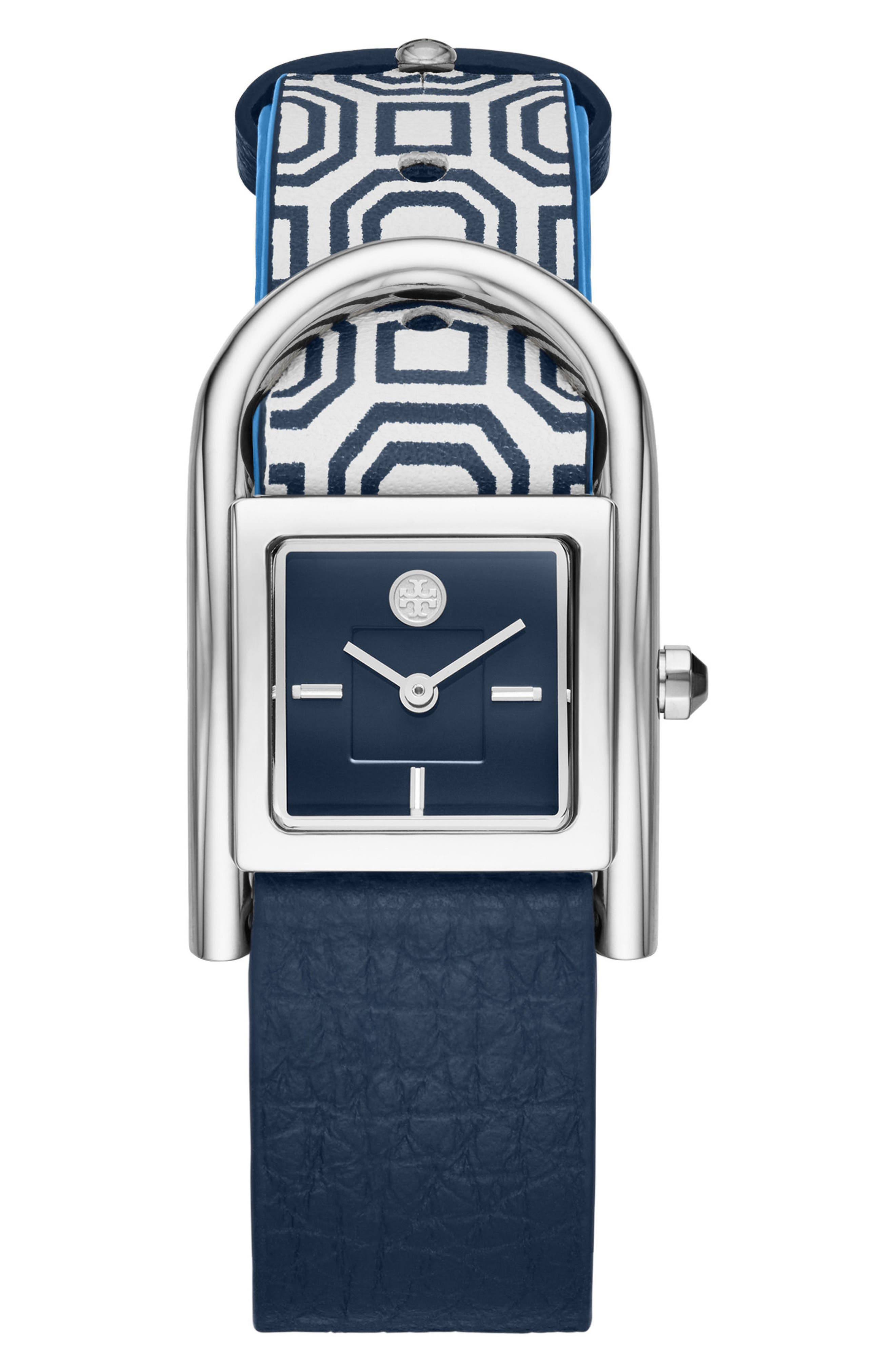 Main Image - Tory Burch Thayer Leather Strap Watch, 25mm x 39mm
