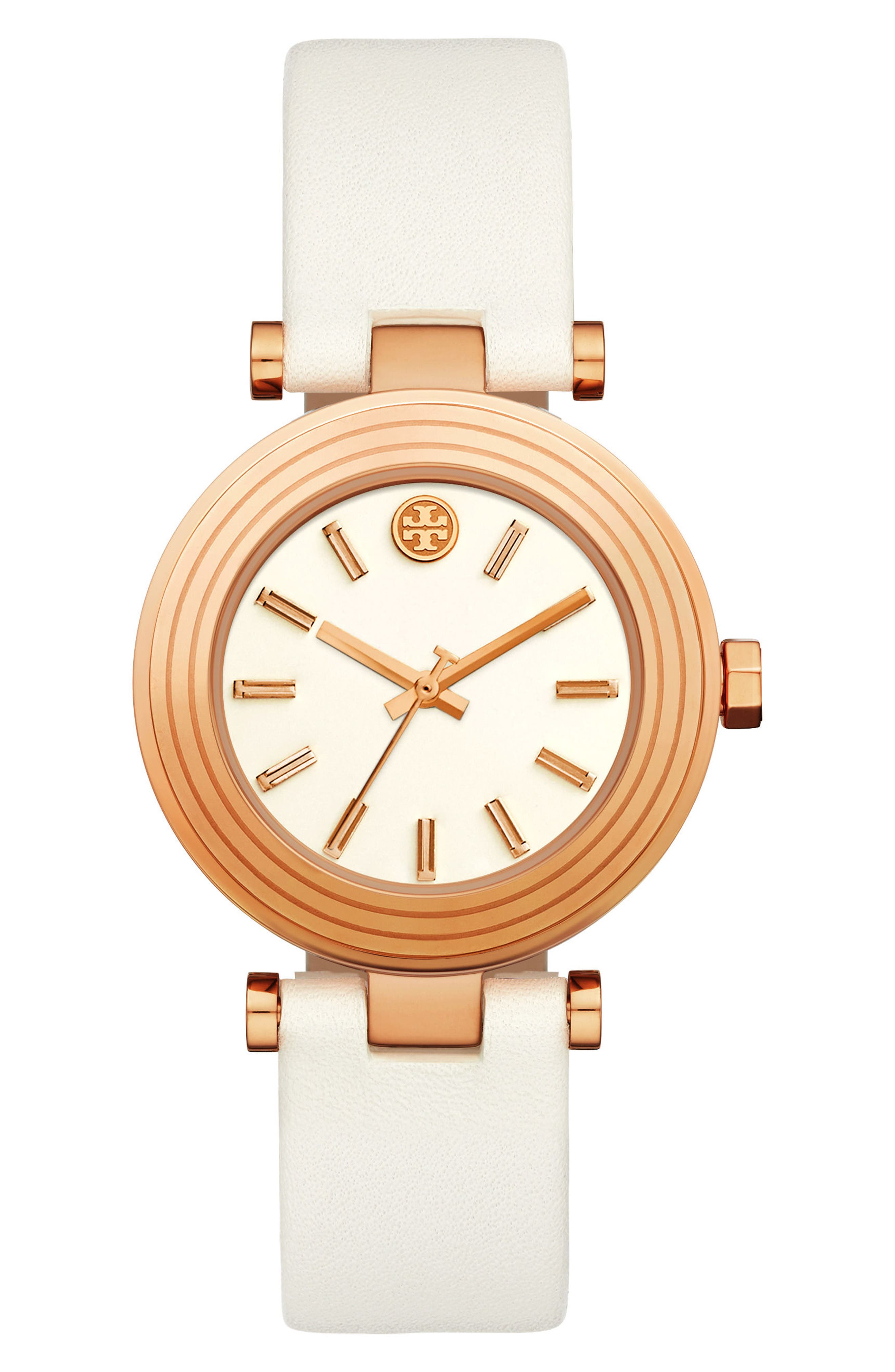 Classic-T Leather Strap Watch, 36mm,                         Main,                         color, White/ Cream/ Rose Gold