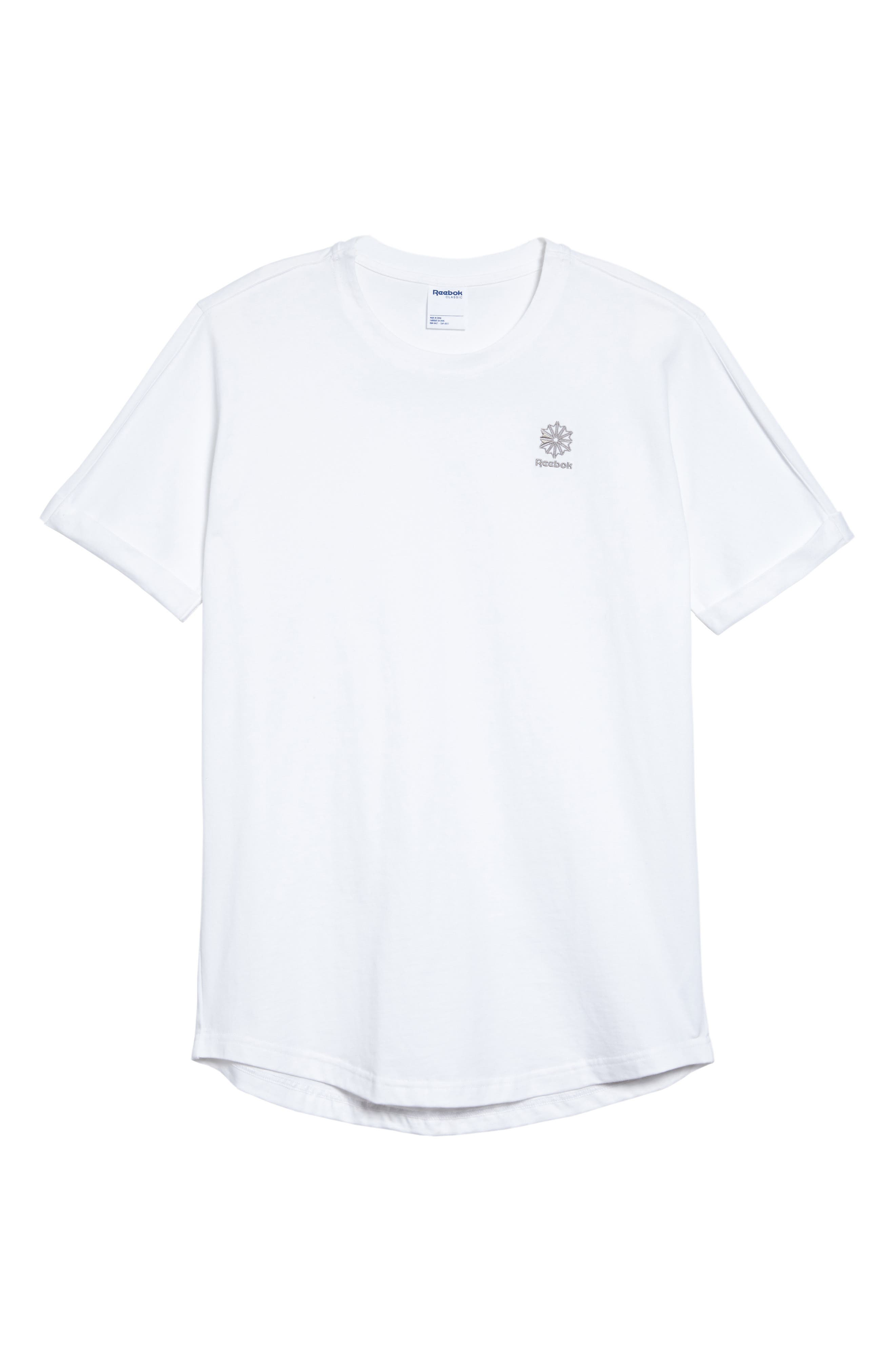 Extended Regular Crewneck T-Shirt,                             Alternate thumbnail 6, color,                             White