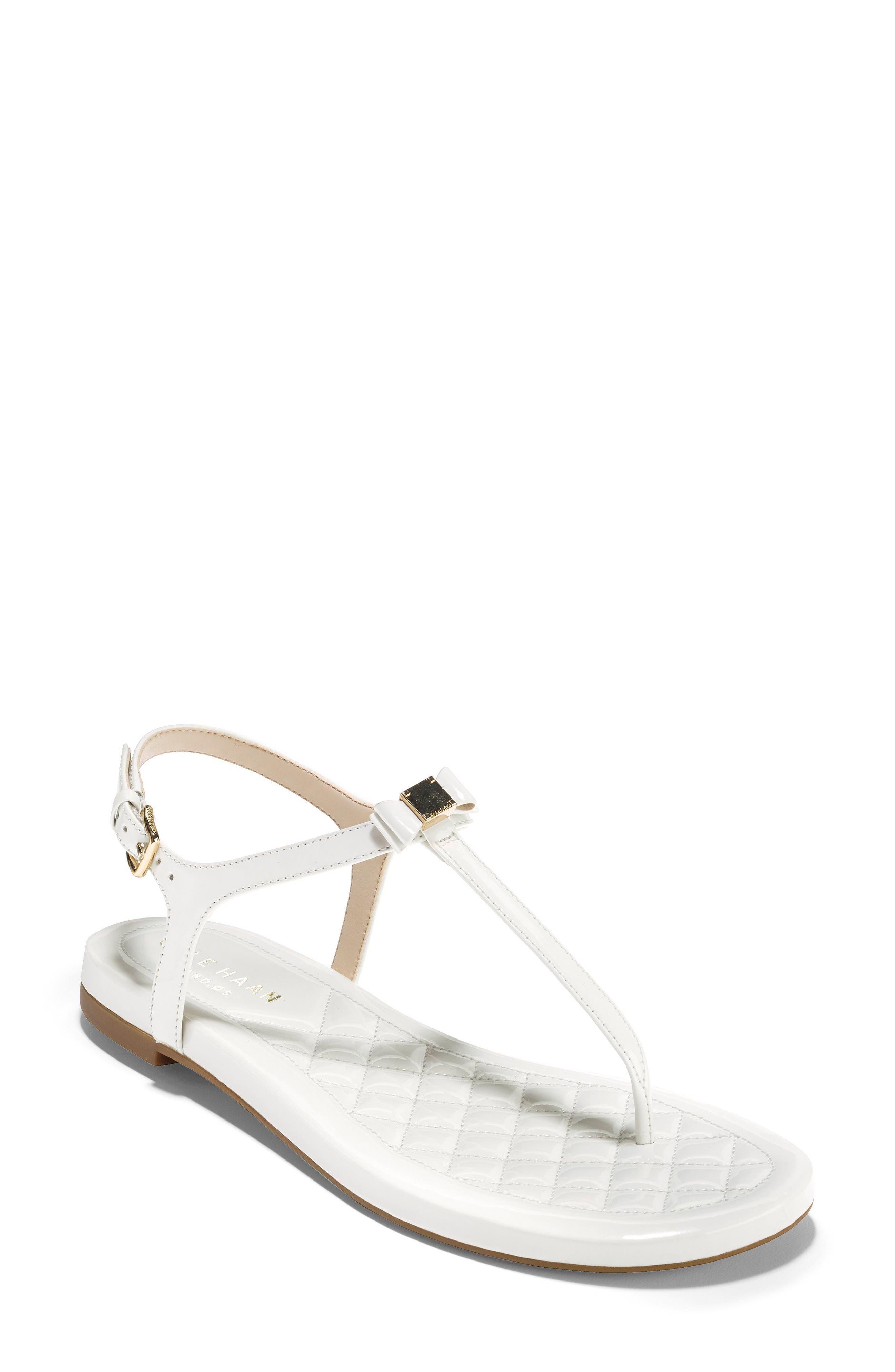 Tali Bow Sandal,                             Main thumbnail 1, color,                             Optic White Patent