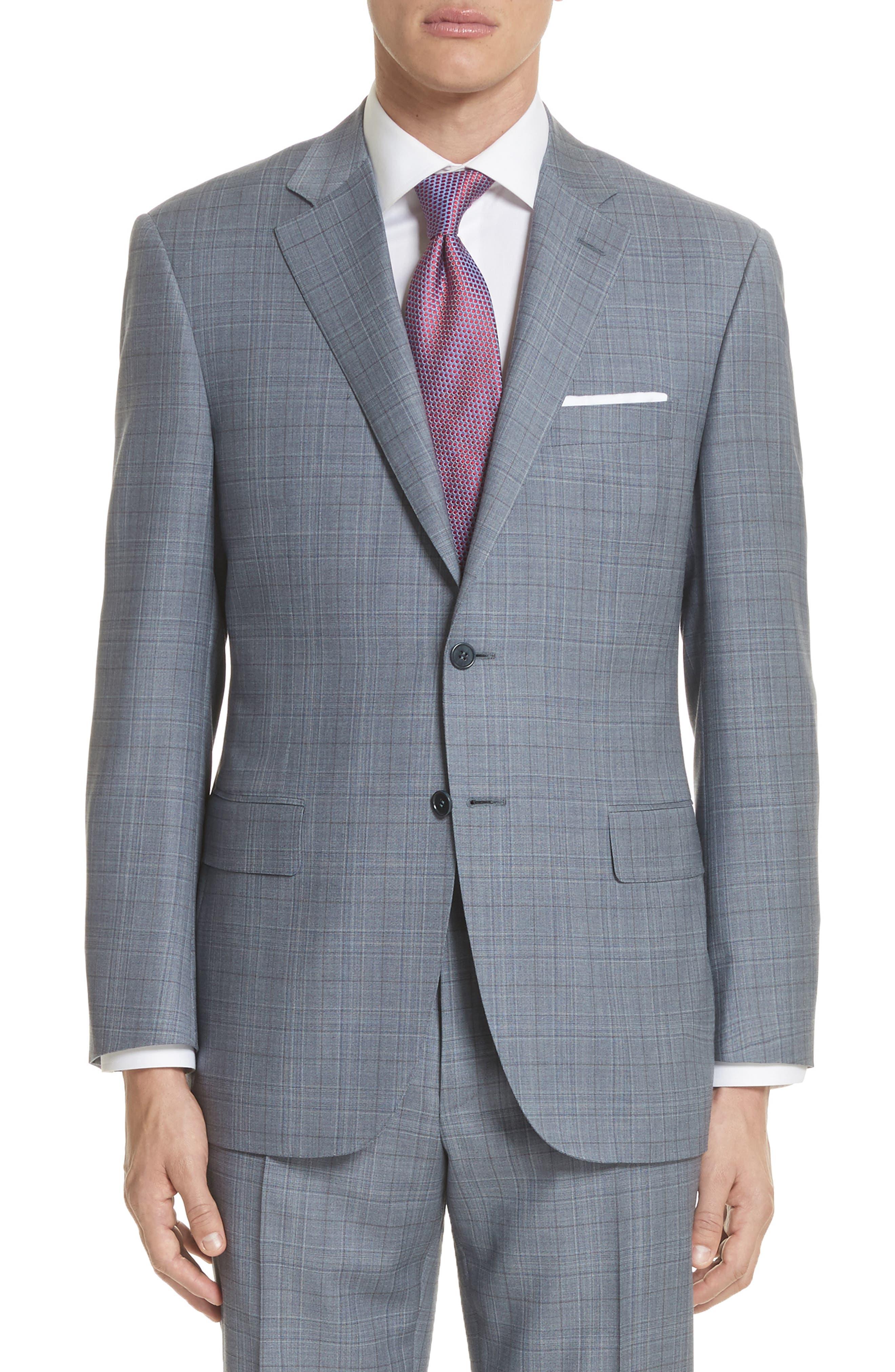 Classic Fit Plaid Wool Suit,                             Alternate thumbnail 5, color,                             Blue