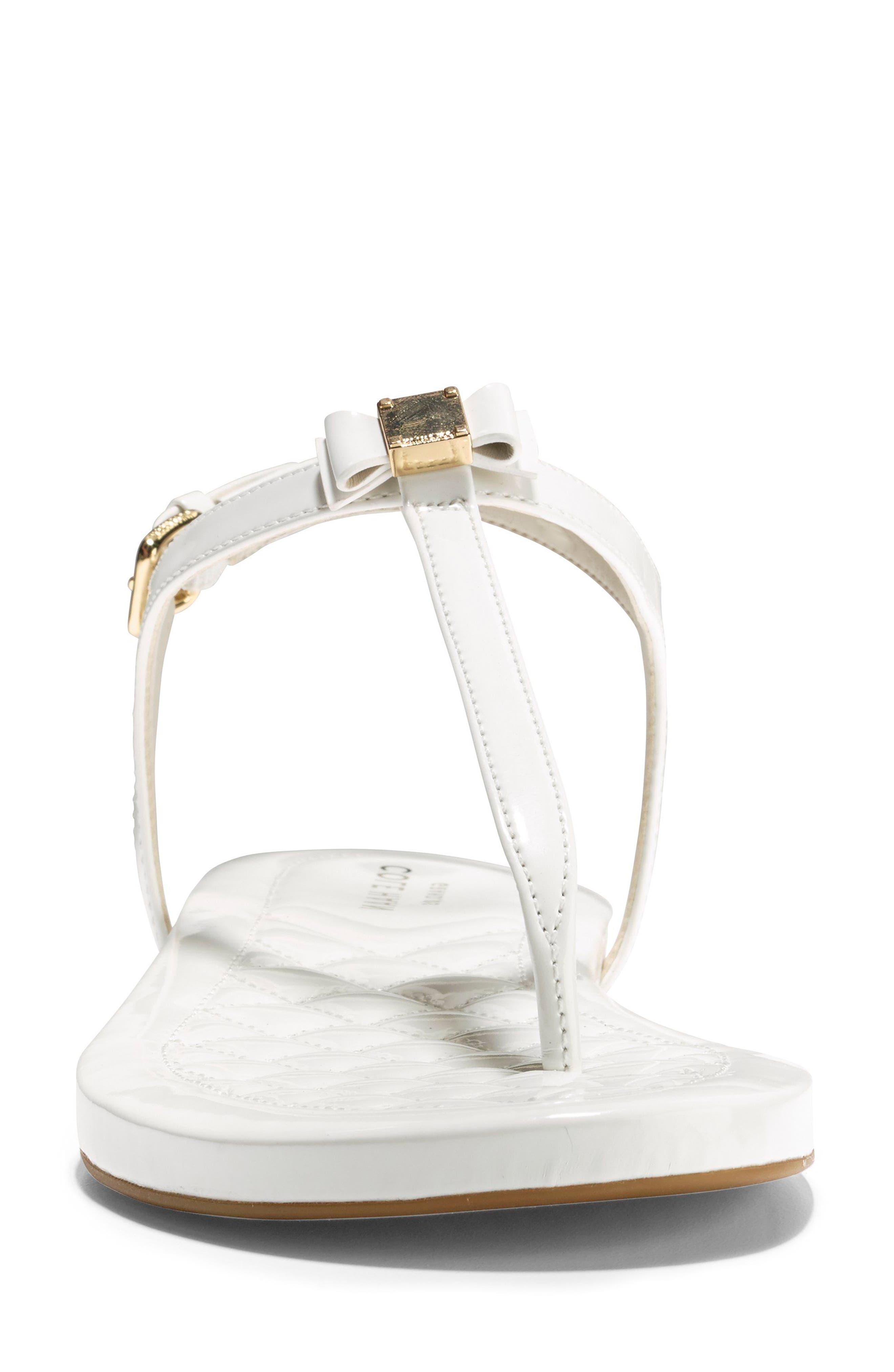 Tali Bow Sandal,                             Alternate thumbnail 4, color,                             Optic White Patent