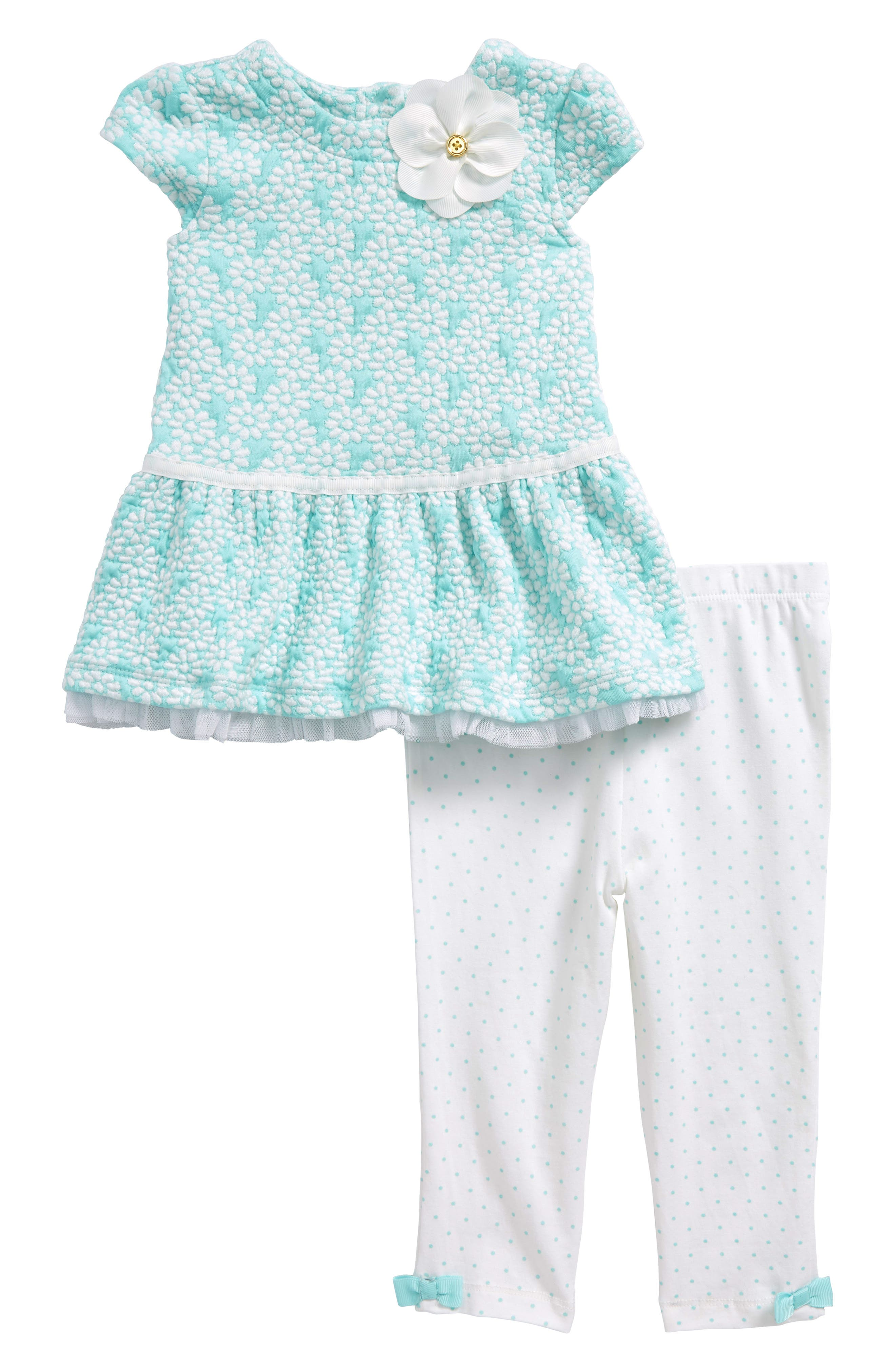 Floral Jacquard Dress & Leggings Set,                         Main,                         color, Seafoam