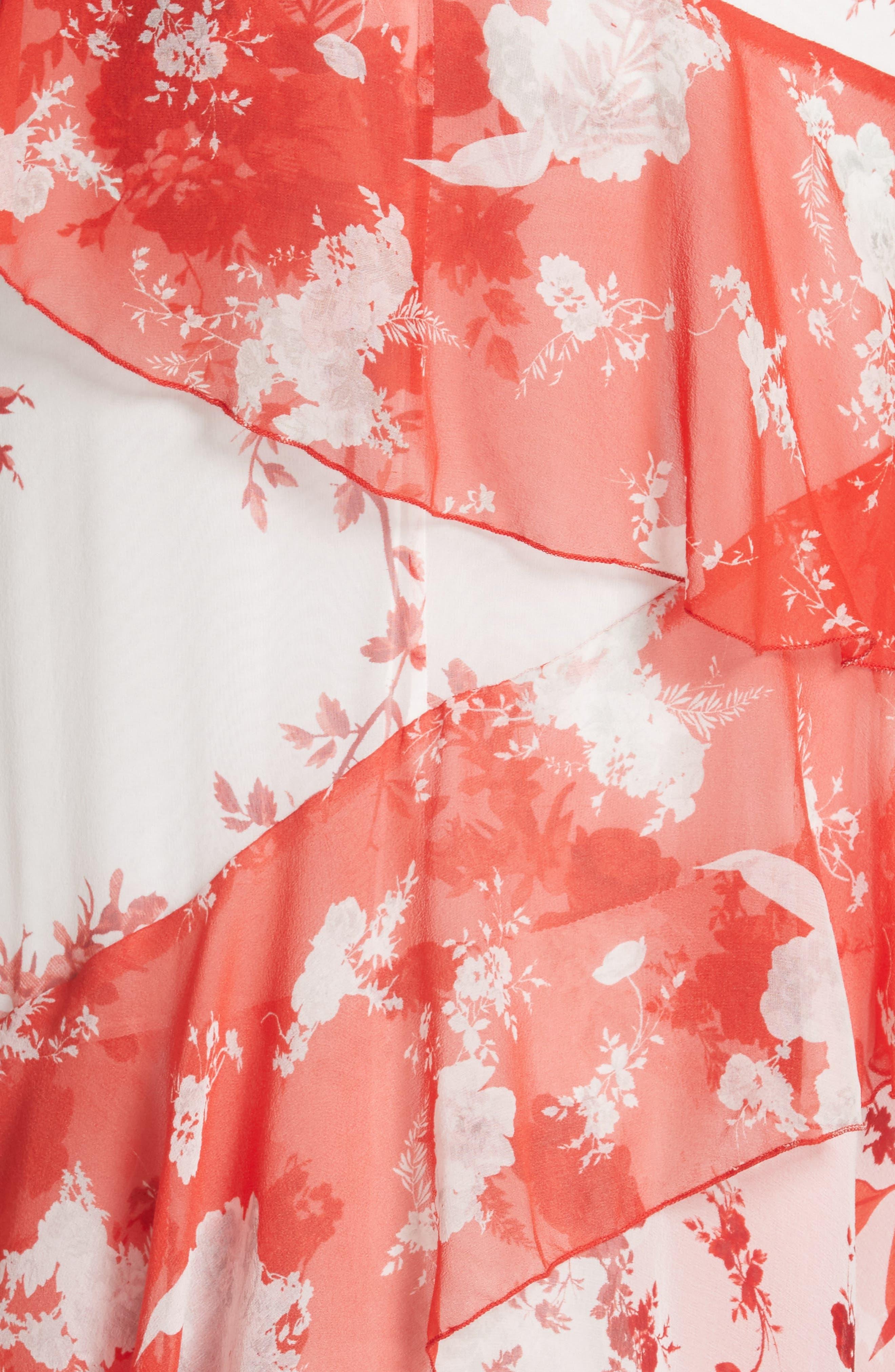 Olympia Asymmetrical Silk Maxi Dress,                             Alternate thumbnail 5, color,                             Damask Rose- Soft White
