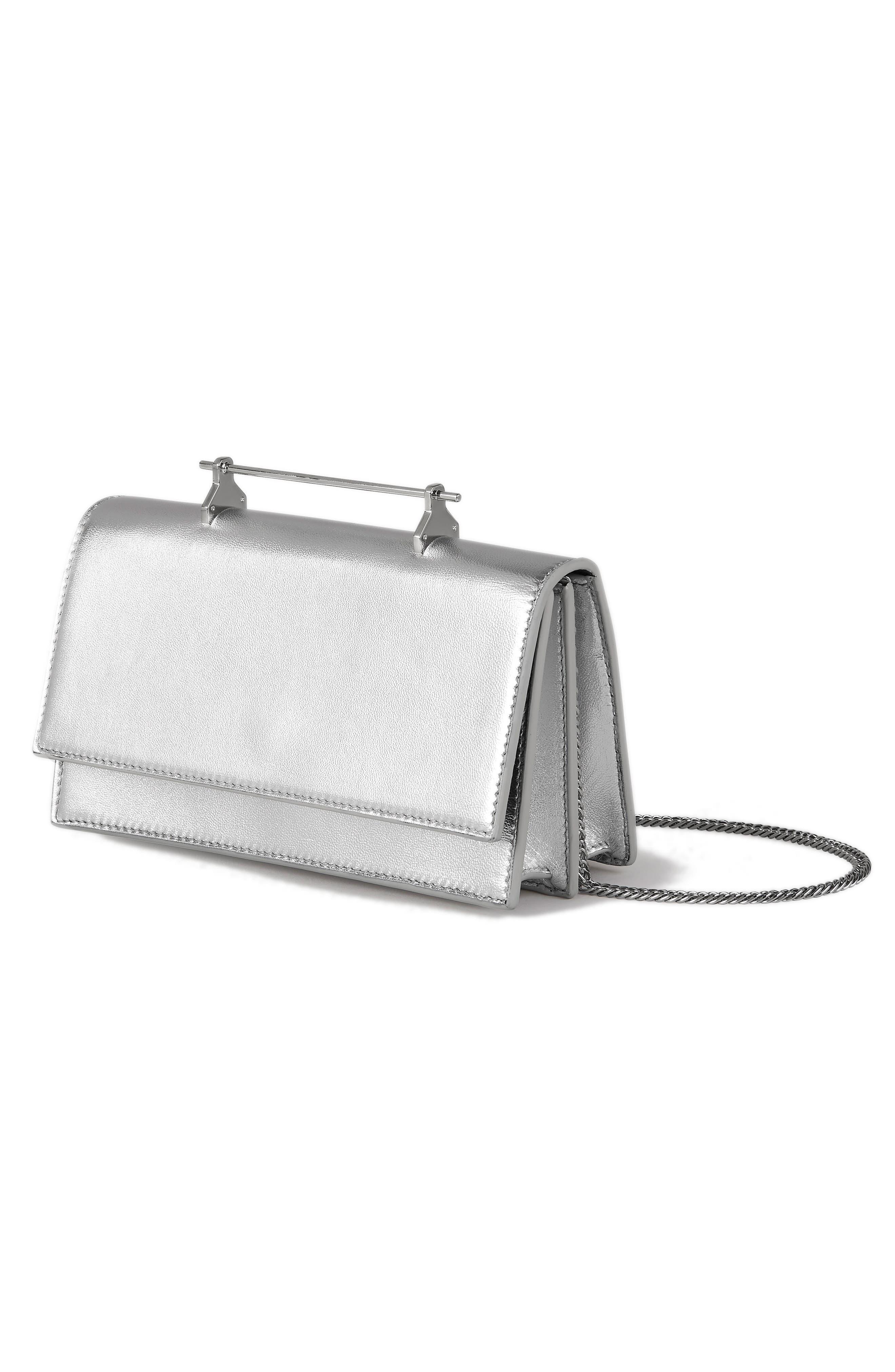 Alexia Metallic Leather Shoulder Bag,                             Alternate thumbnail 3, color,                             Metallic Silver/ Silver