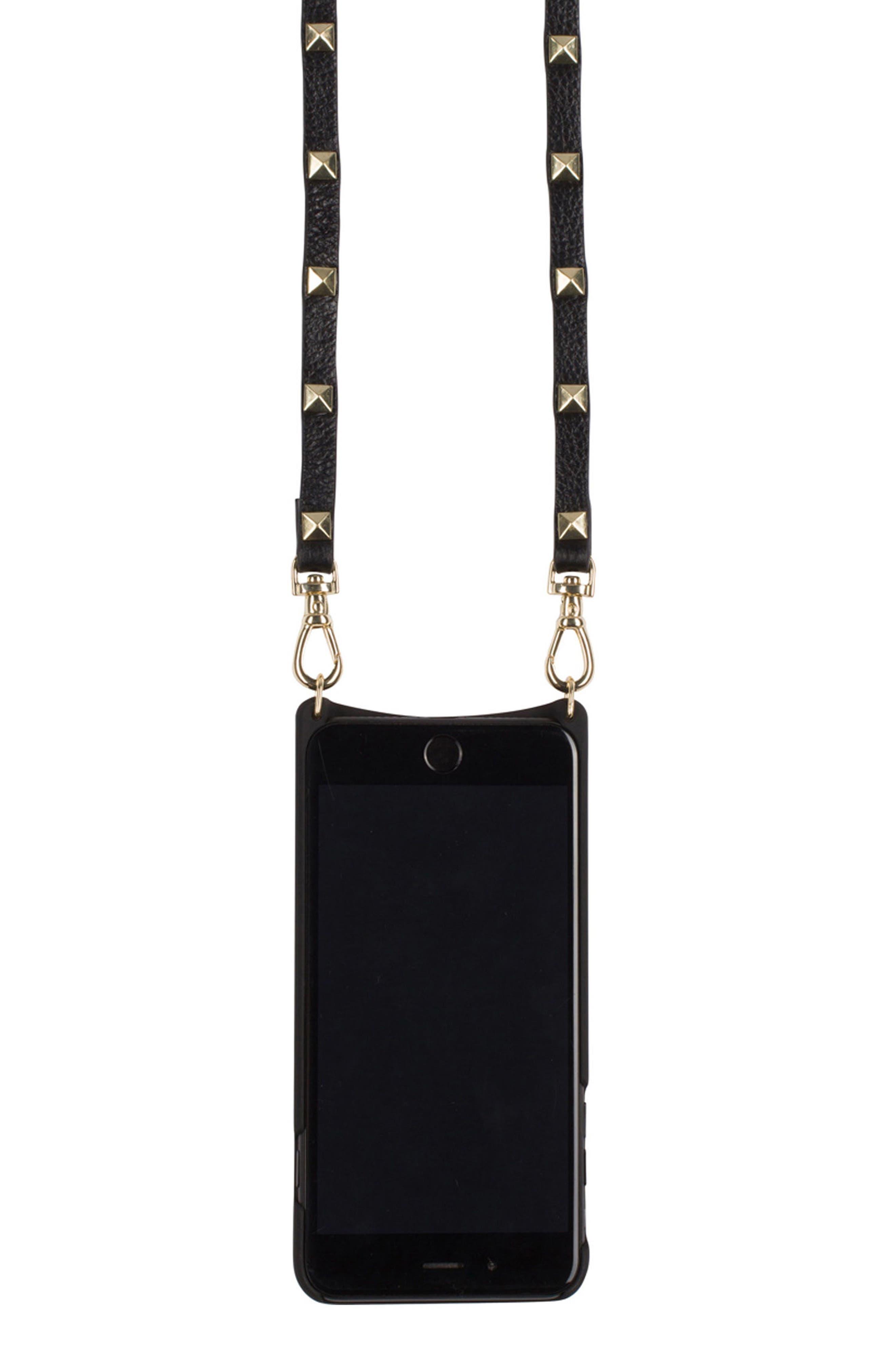 Sarah Leather iPhone 6/7/8 & 6/7/8 Plus Crossbody Case,                             Alternate thumbnail 2, color,                             New Black/ Gold