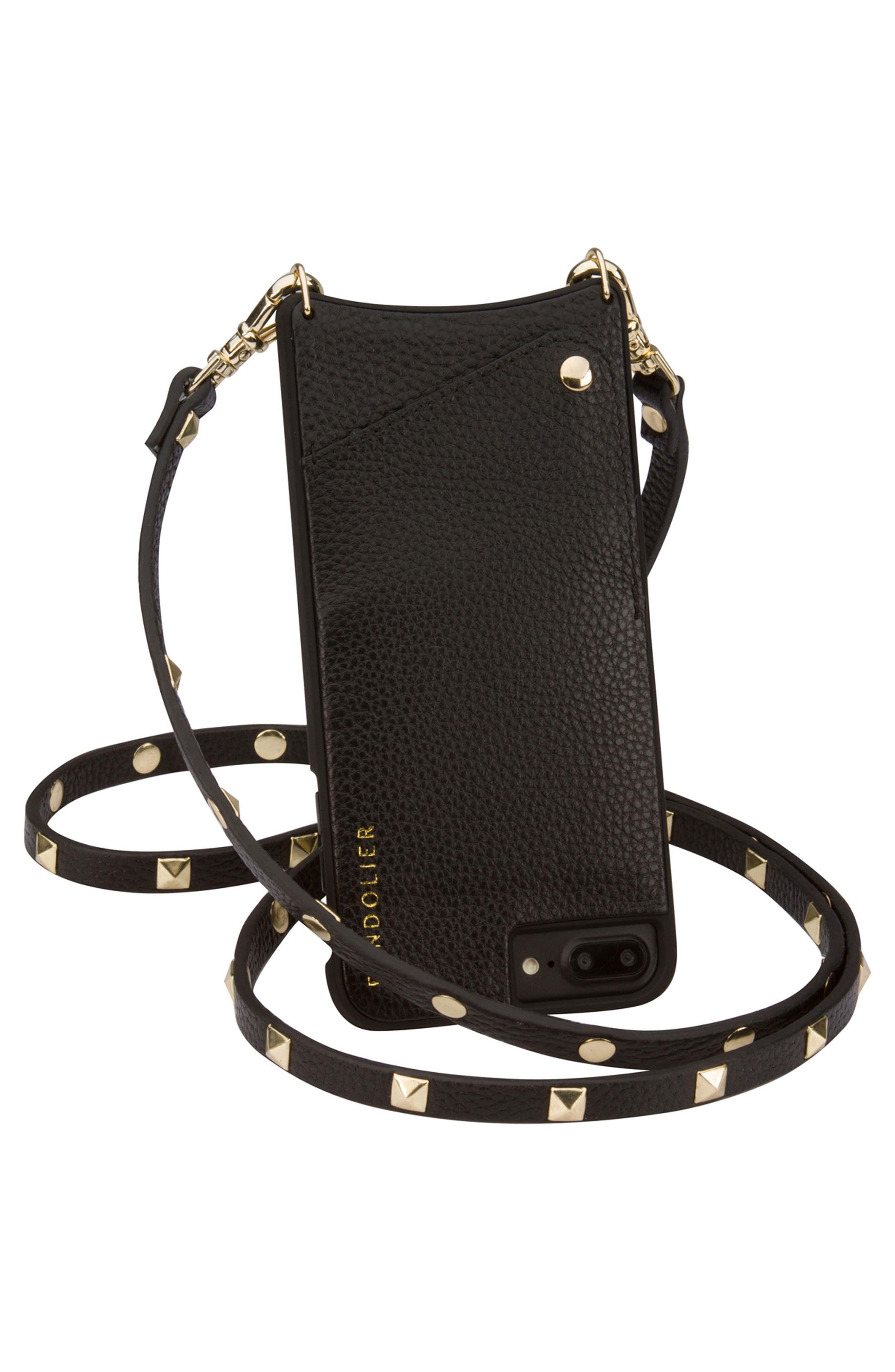 Sarah Leather iPhone 6/7/8 & 6/7/8 Plus Crossbody Case,                             Alternate thumbnail 3, color,                             New Black/ Gold