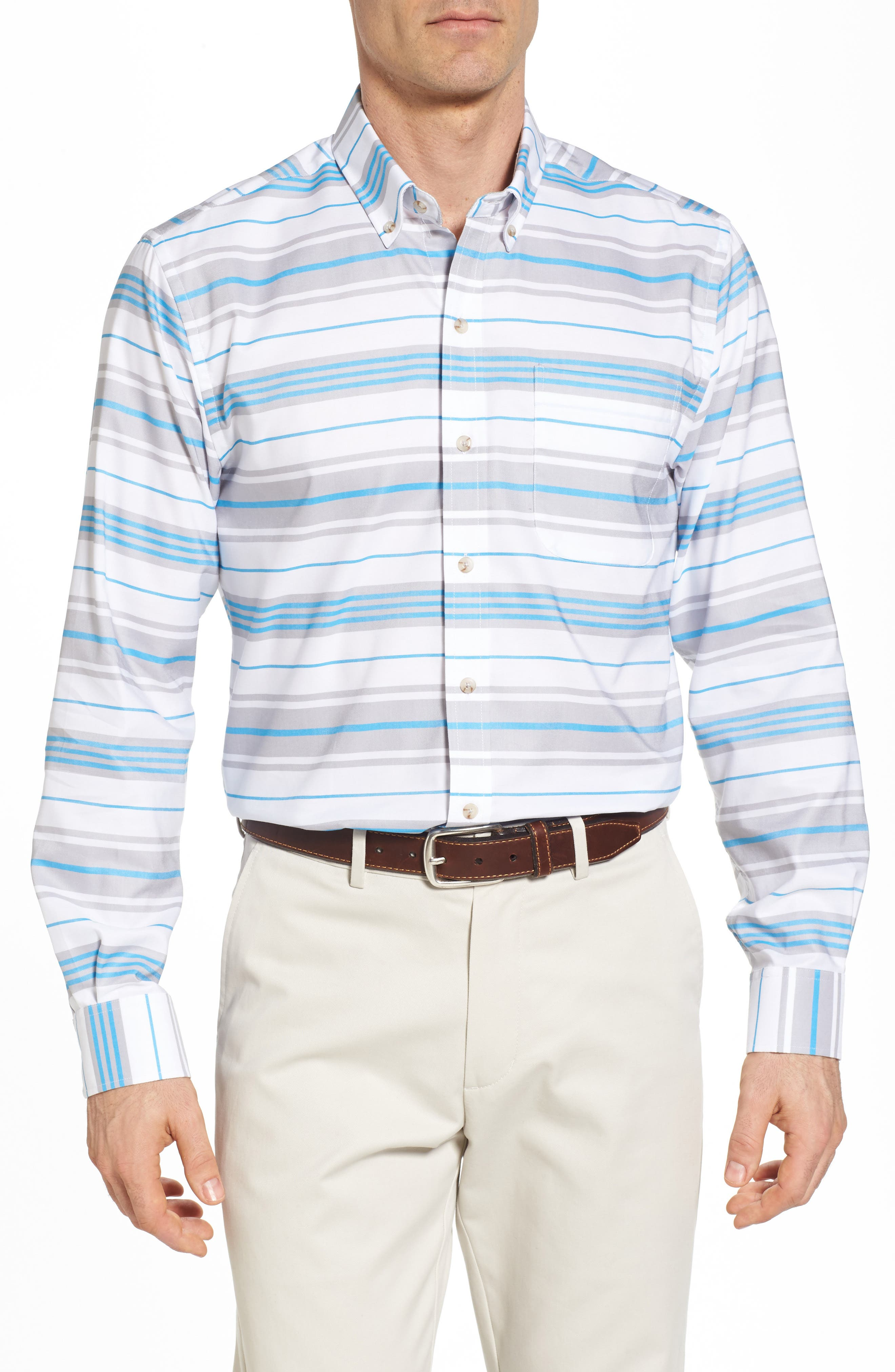 Parker Classic Fit Non-Iron Stripe Sport Shirt,                         Main,                         color, Poolside