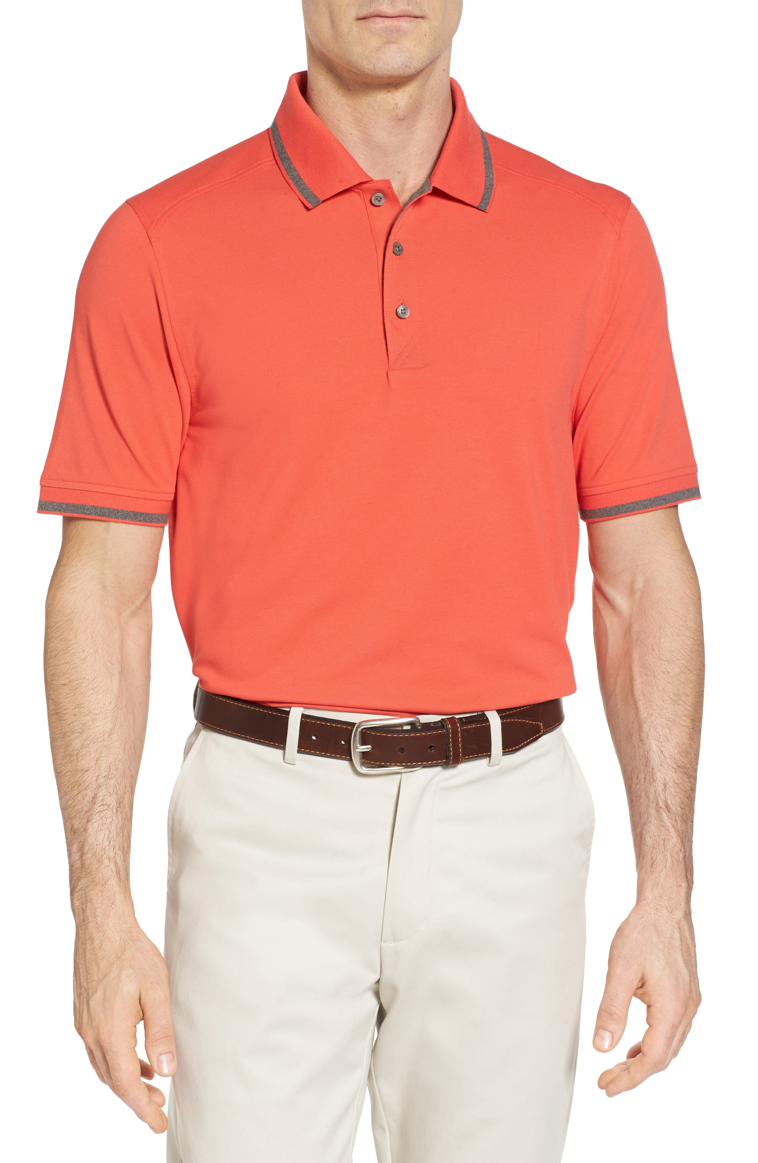 Tipped DryTec Polo,                         Main,                         color, Tangelo