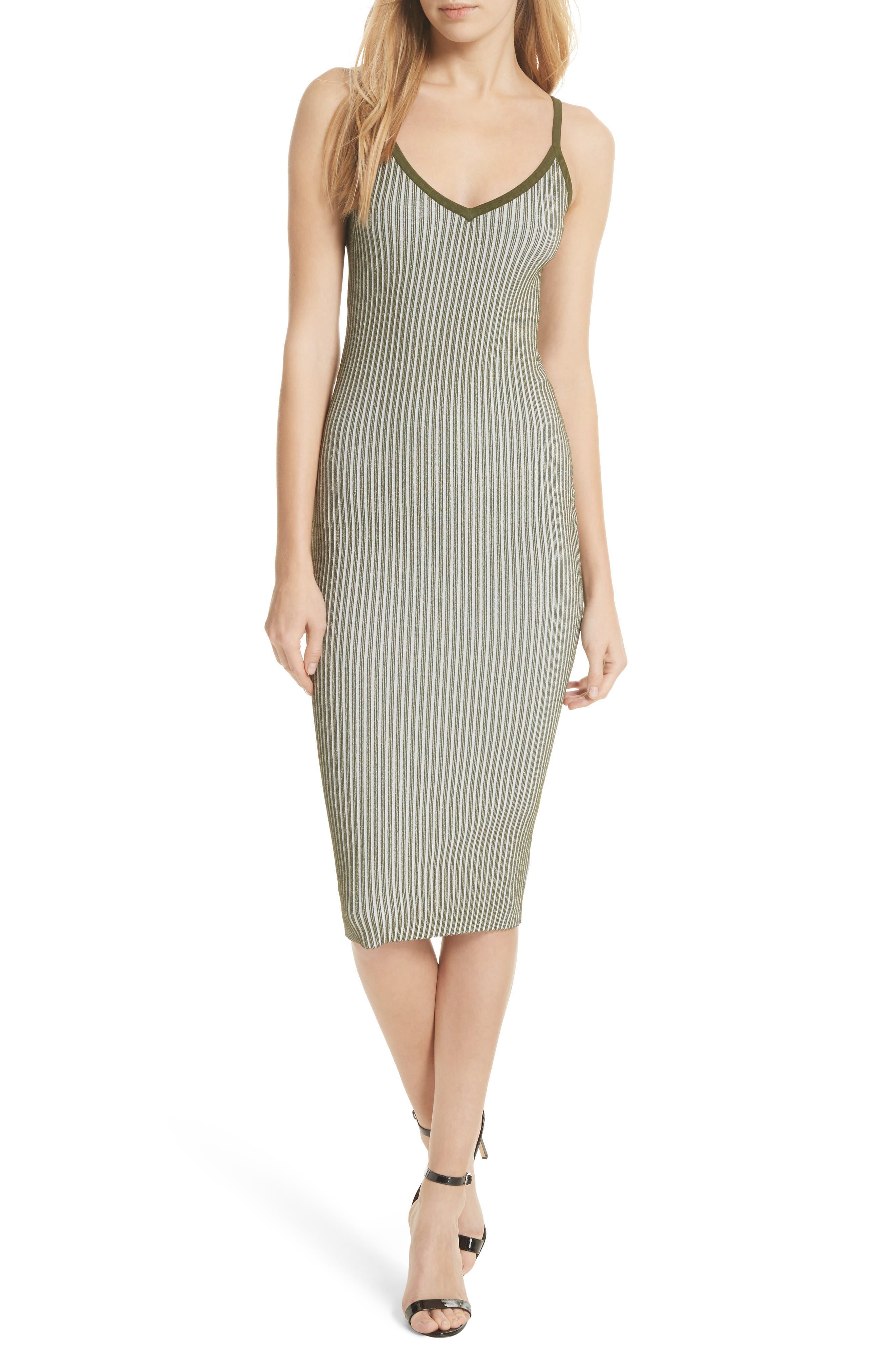 Plaited Ribbed Slipdress,                         Main,                         color, Olive/ White