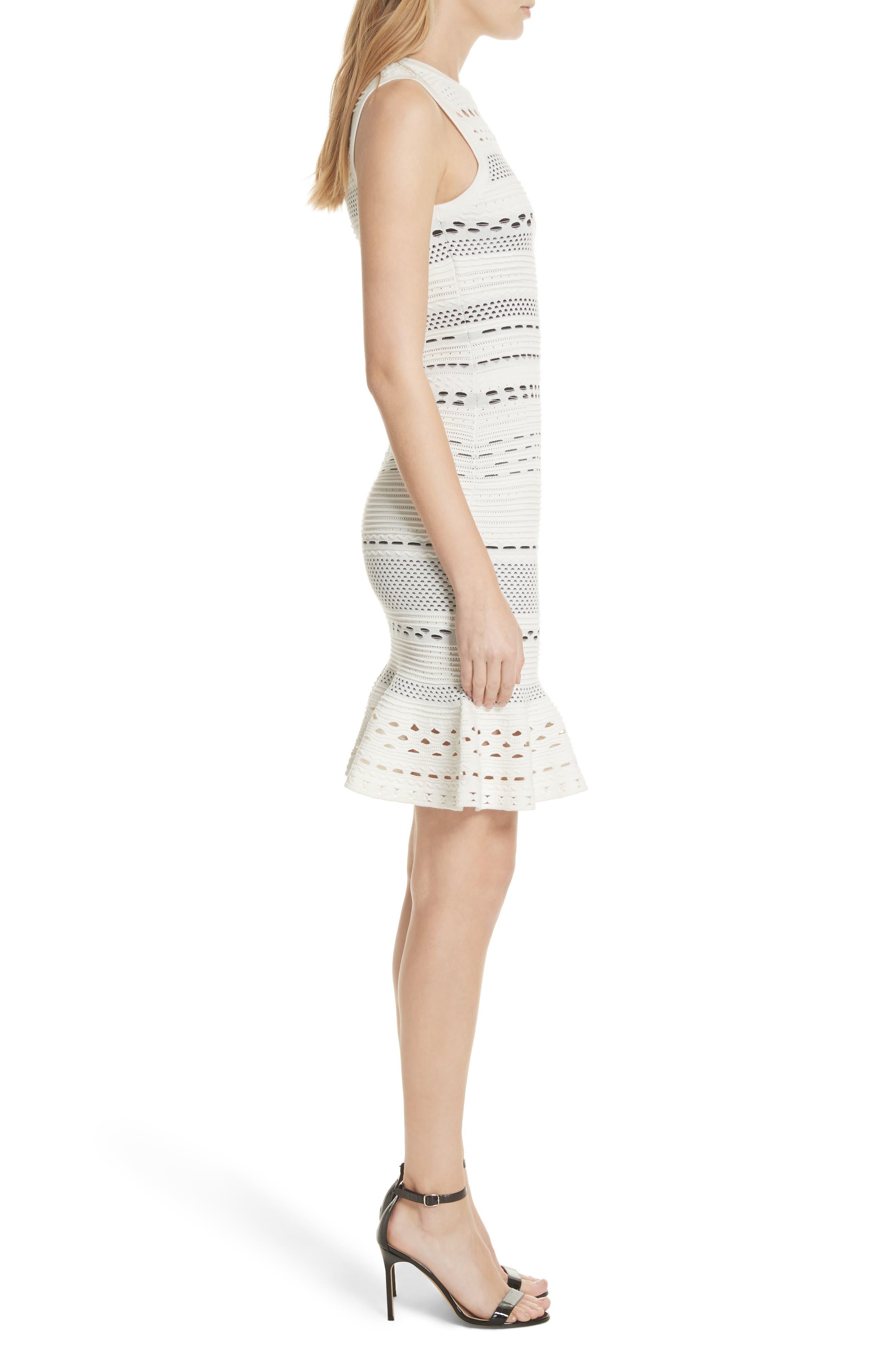 Cutout Lace Knit Dress,                             Alternate thumbnail 3, color,                             White/ Black