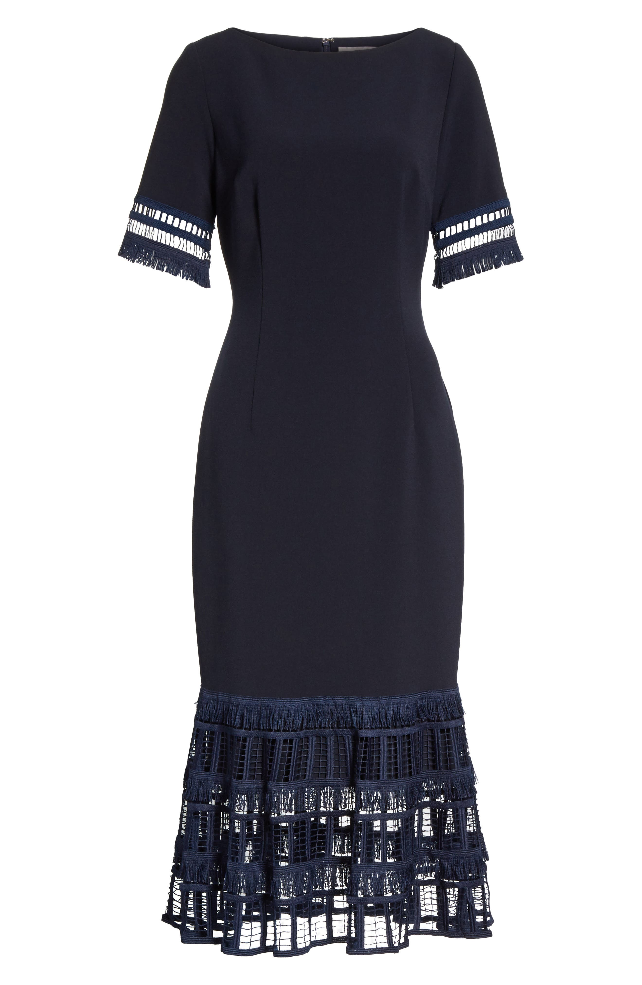 Fringe Flare Hem Sheath Dress,                             Alternate thumbnail 6, color,                             Navy