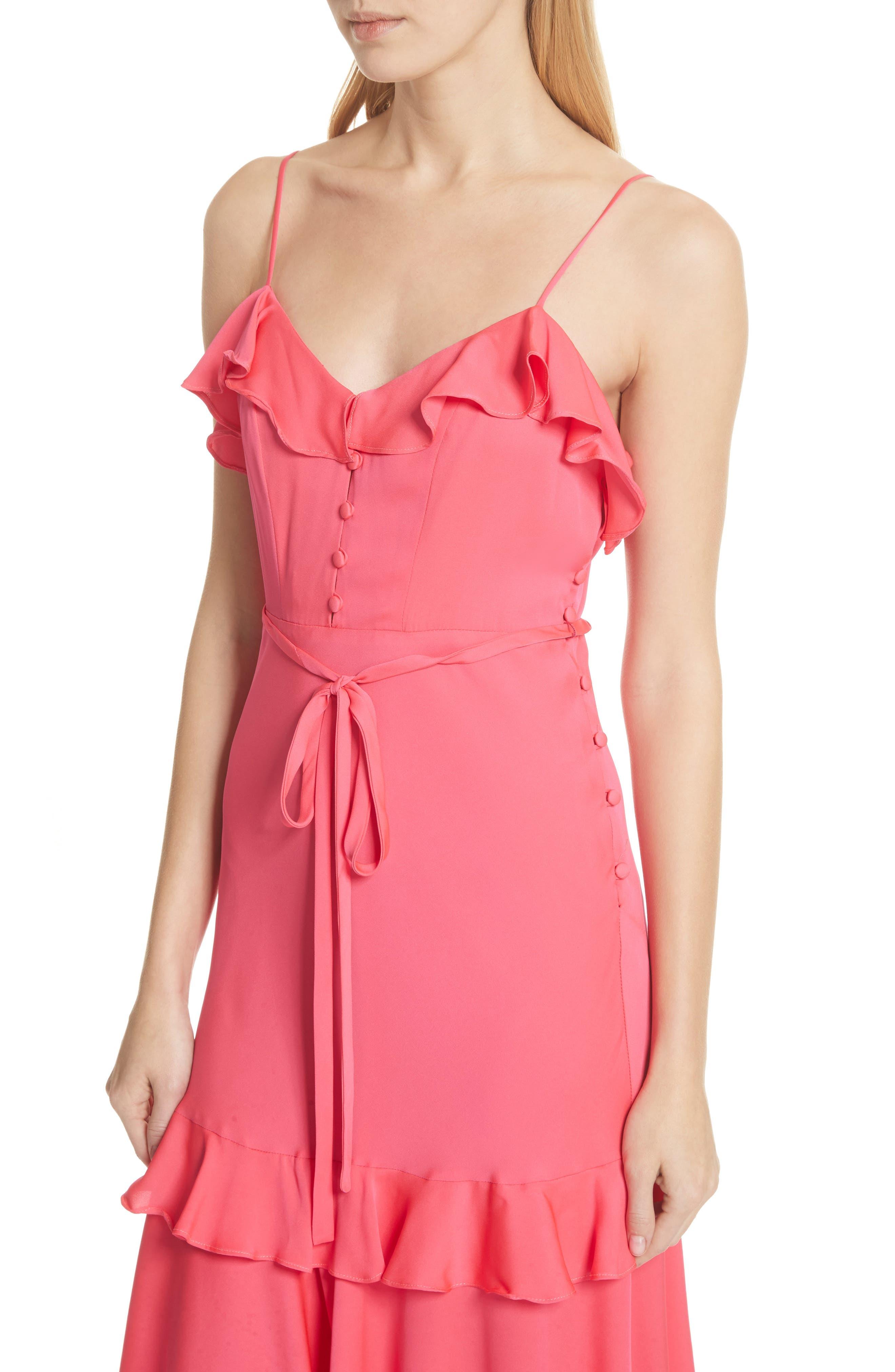 Petal Stretch Silk Midi Dress,                             Alternate thumbnail 4, color,                             Guava