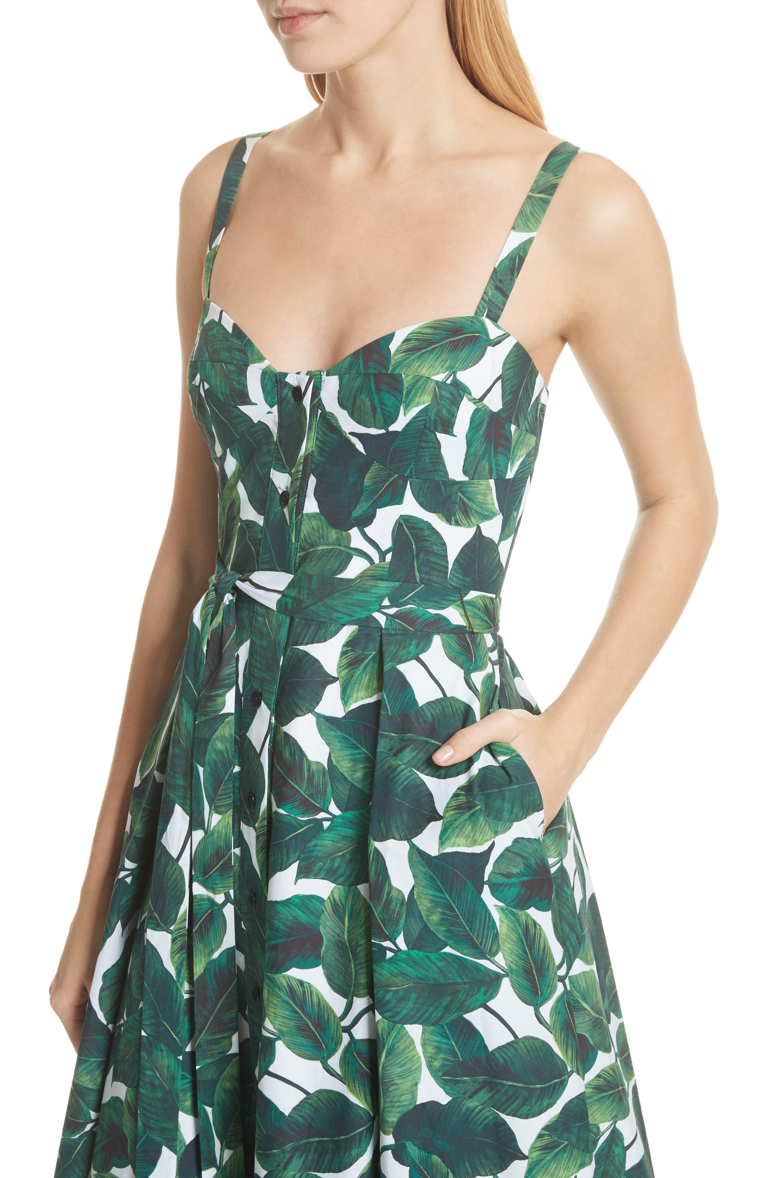 Print Poplin Midi Dress,                             Alternate thumbnail 4, color,                             Emerald