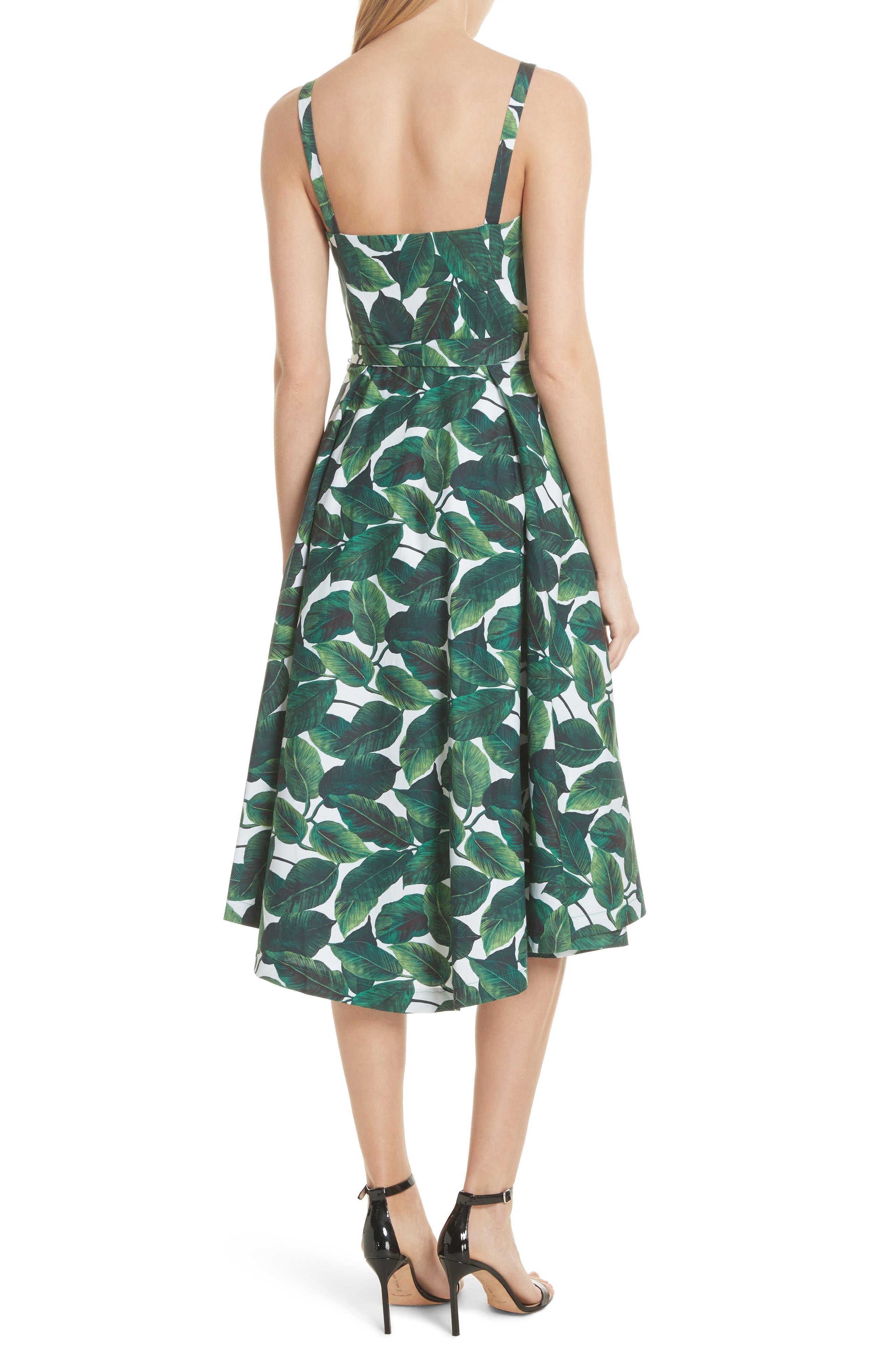 Print Poplin Midi Dress,                             Alternate thumbnail 2, color,                             Emerald