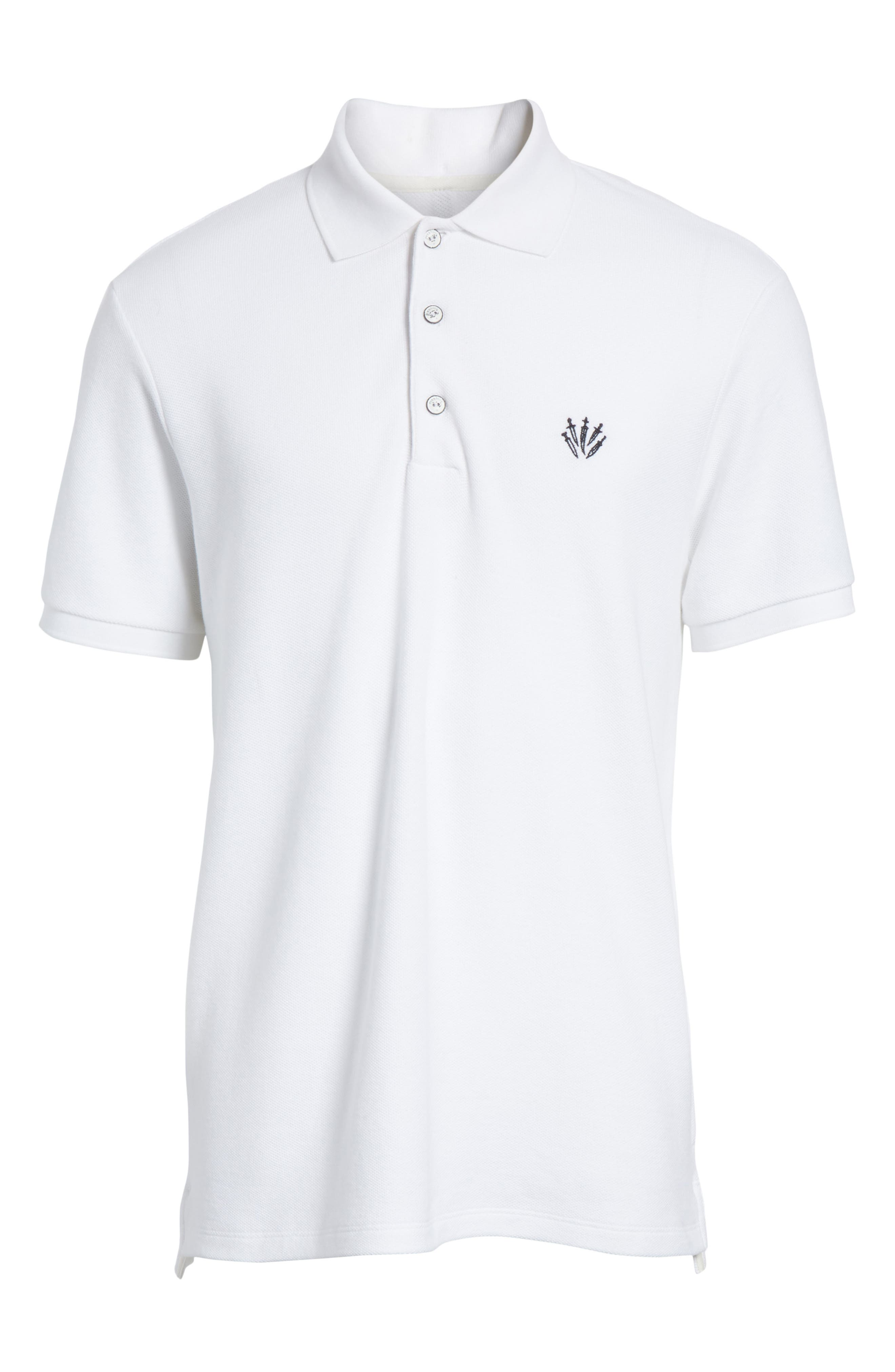 Embroidered Dagger Piqué Polo,                             Alternate thumbnail 6, color,                             White