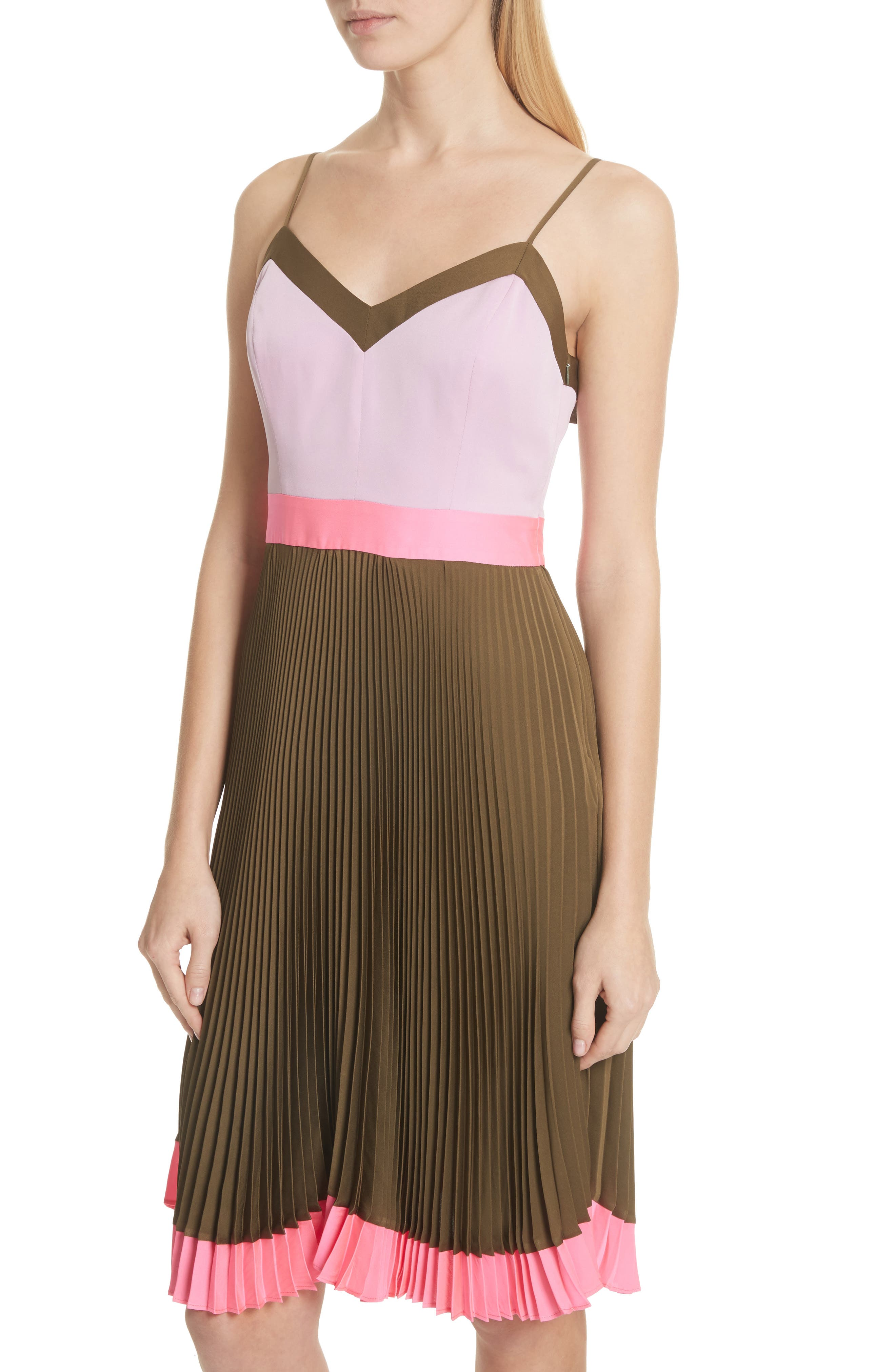 Jill Pleated Stretch Silk Dress,                             Alternate thumbnail 4, color,                             Olive/ Petal/ Fluo Pink