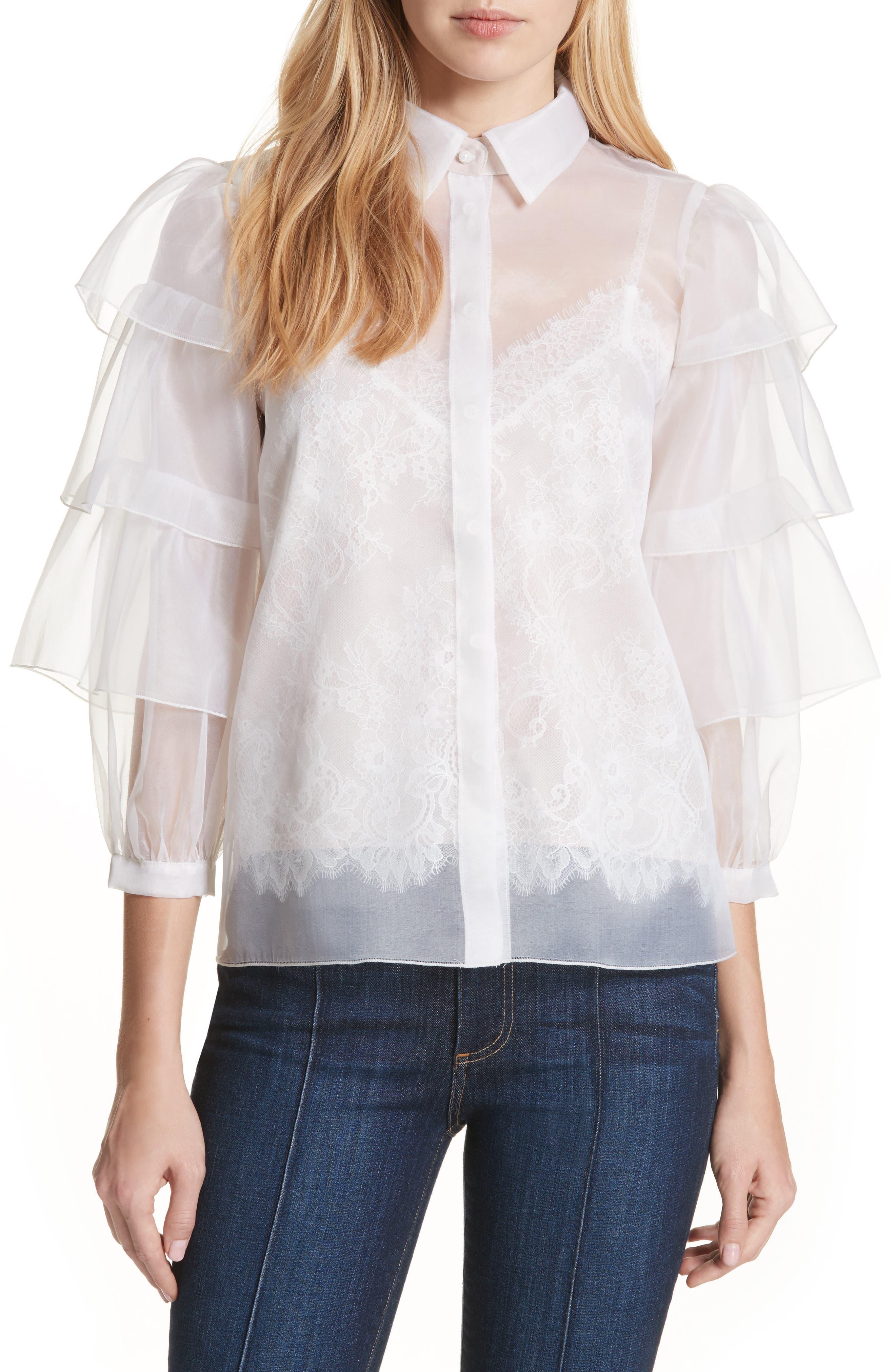 Alice + Olivia Mary Alice Tiered Sleeve Silk Blouse