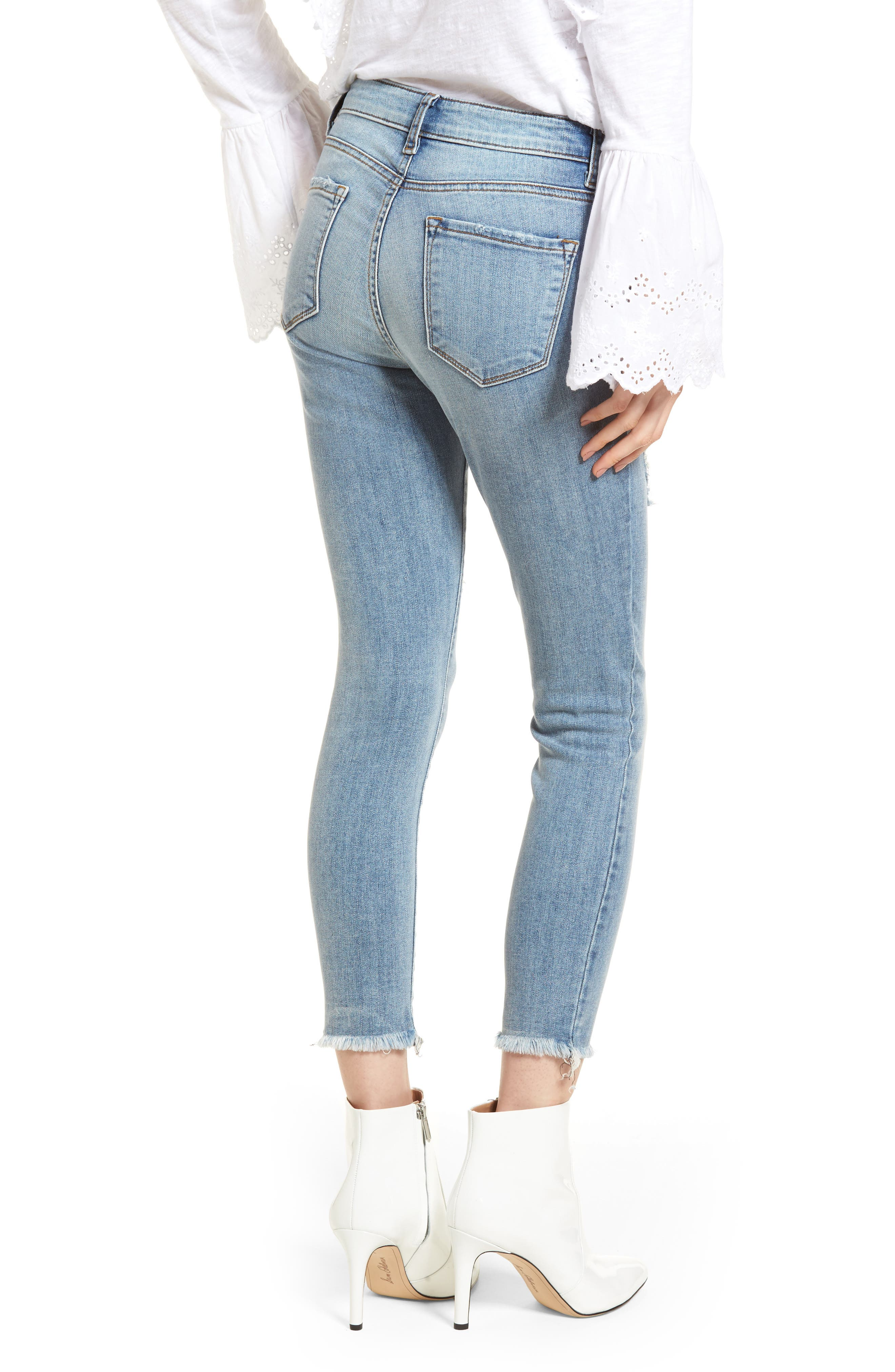 Emma Ripped Ankle Skinny Jeans,                             Alternate thumbnail 2, color,                             Medium Wash