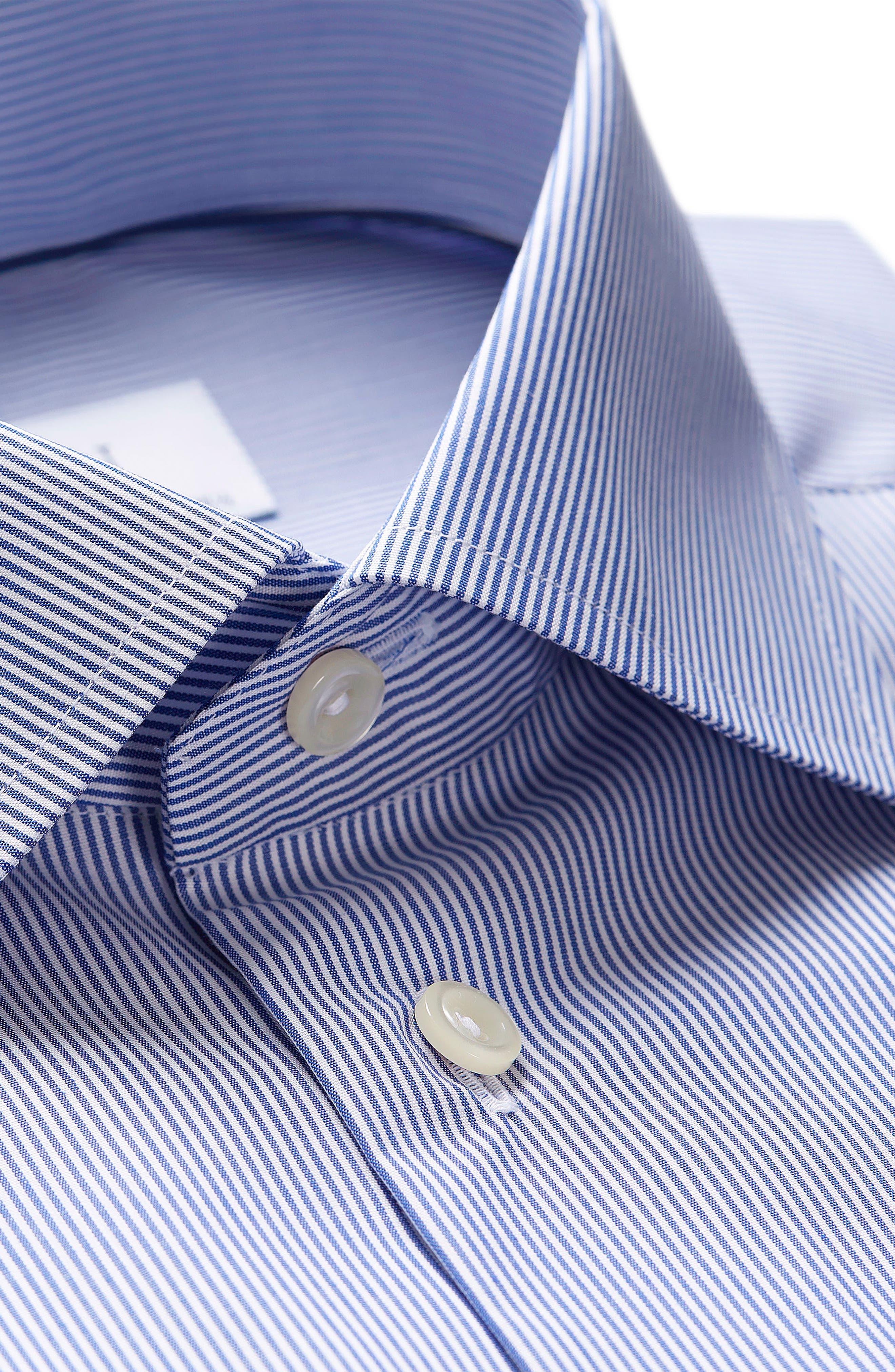 Extra Slim Fit Stripe Dress Shirt,                             Alternate thumbnail 2, color,                             Blue/ White