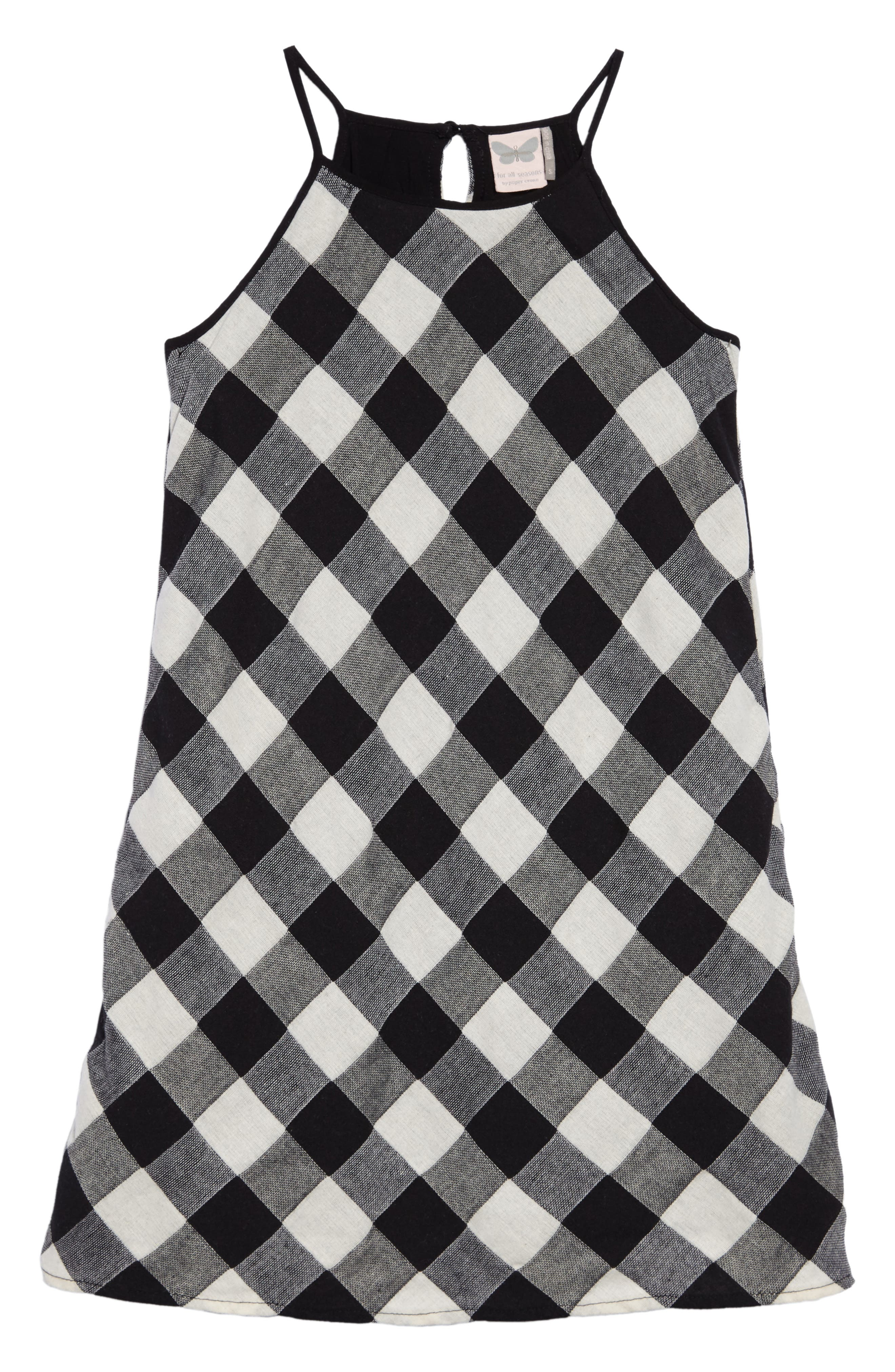 Gingham Tank Dress,                             Main thumbnail 1, color,                             Blk/ White