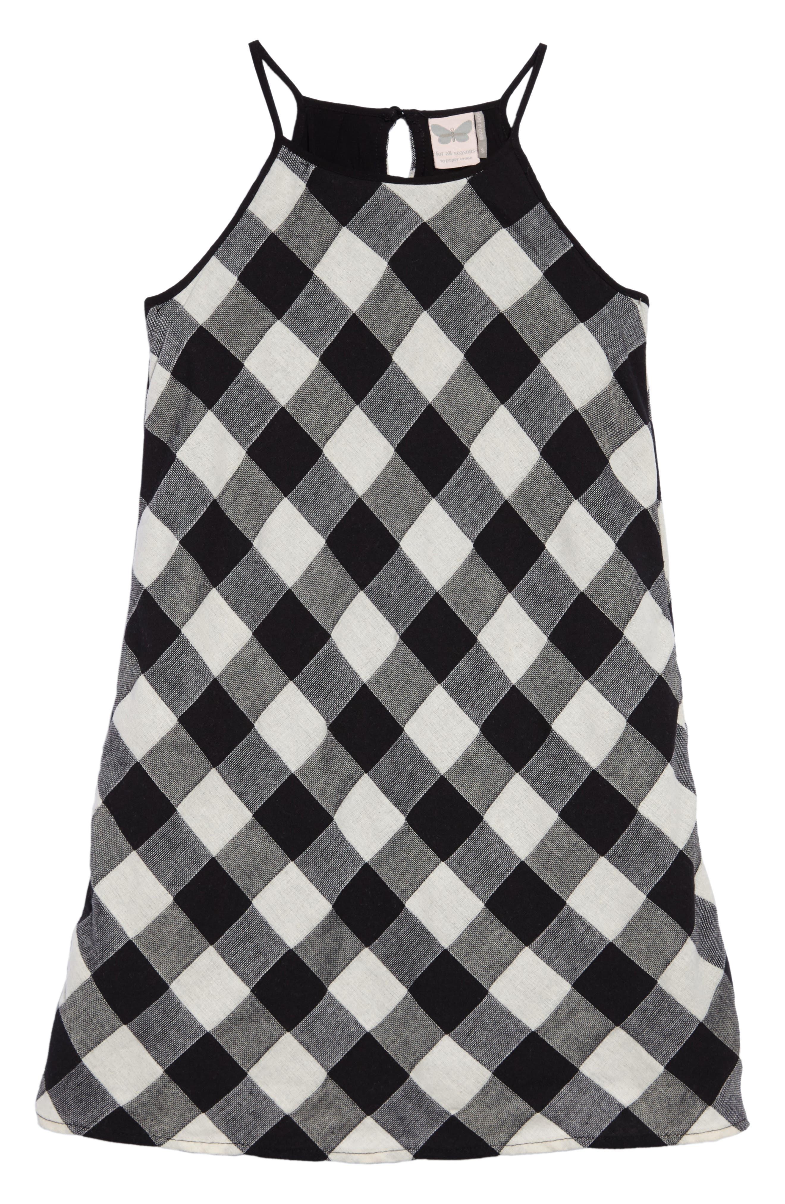 Gingham Tank Dress,                         Main,                         color, Blk/ White