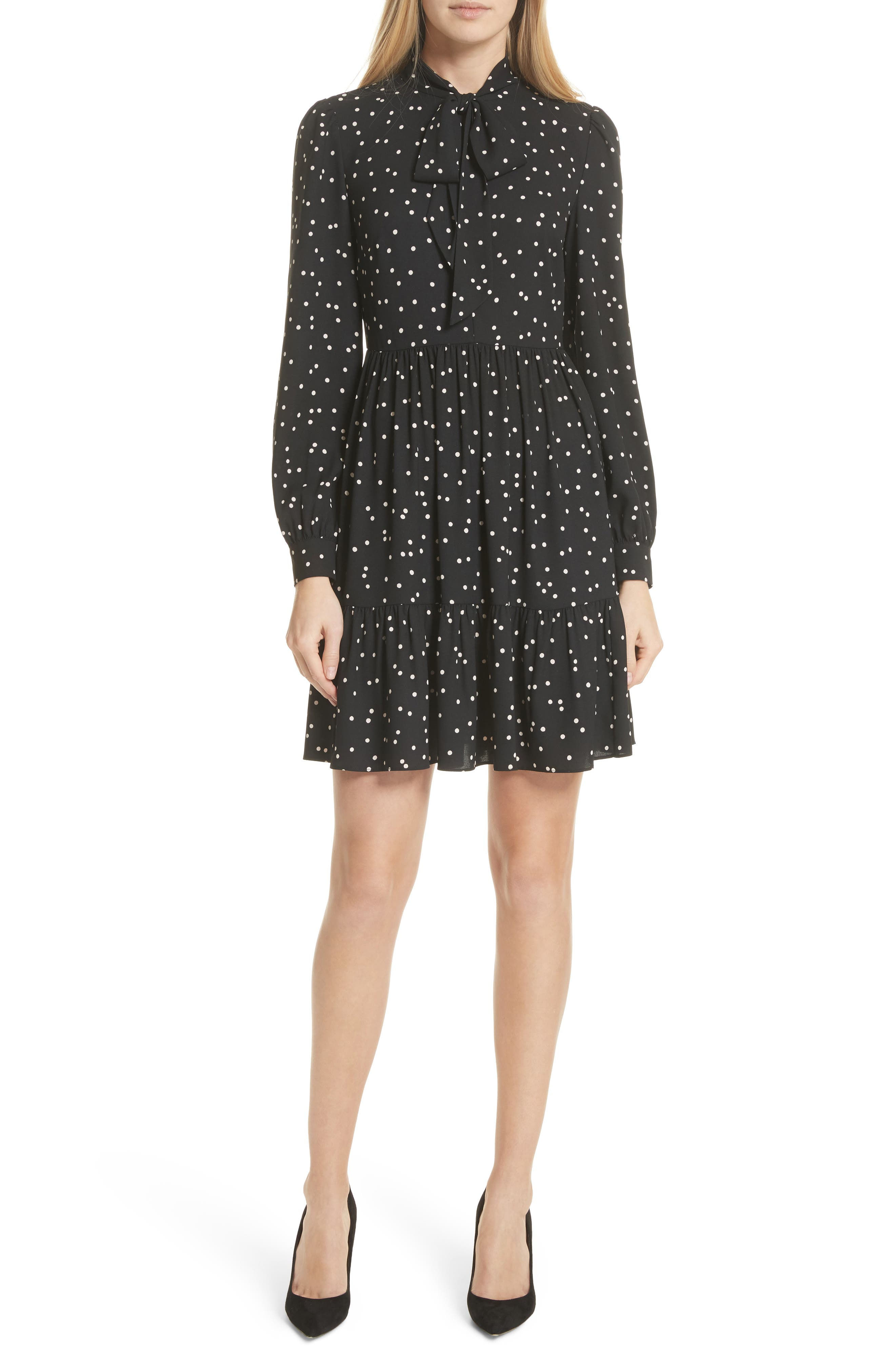 scatter dot shirtdress,                         Main,                         color, Black