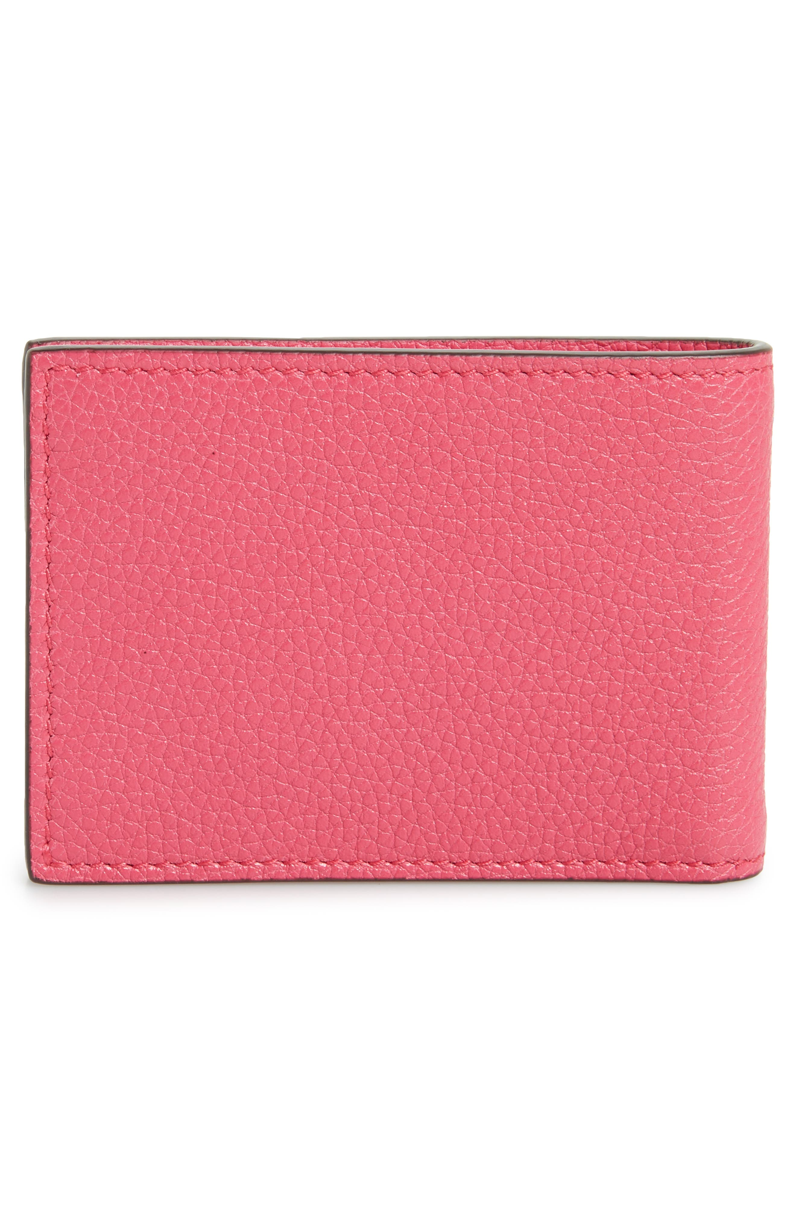 Bifold Leather Wallet,                             Alternate thumbnail 3, color,                             Pink