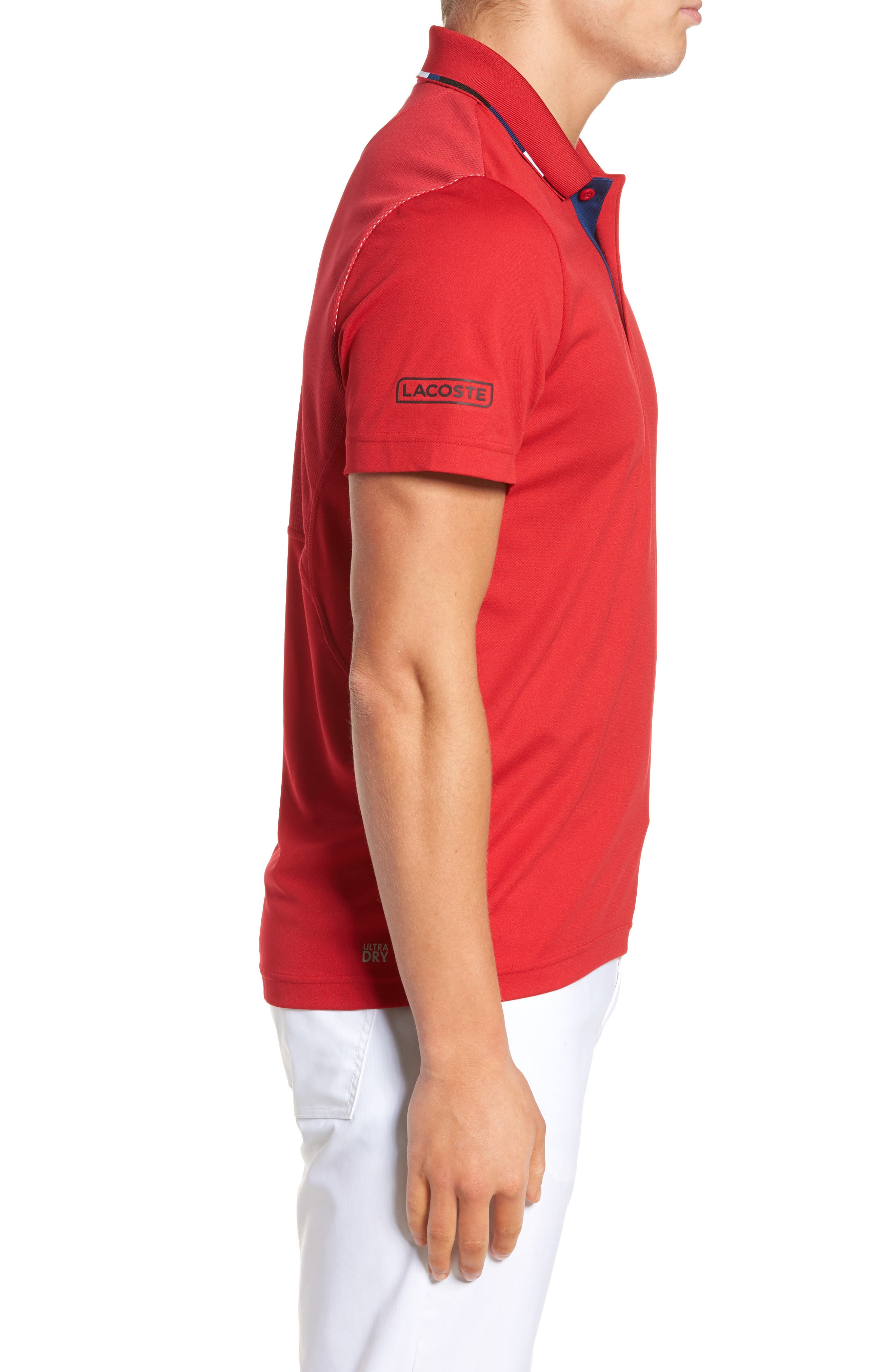 Sport Piped Piqué Tech Polo,                             Alternate thumbnail 3, color,                             Red/ Marino-Black-White
