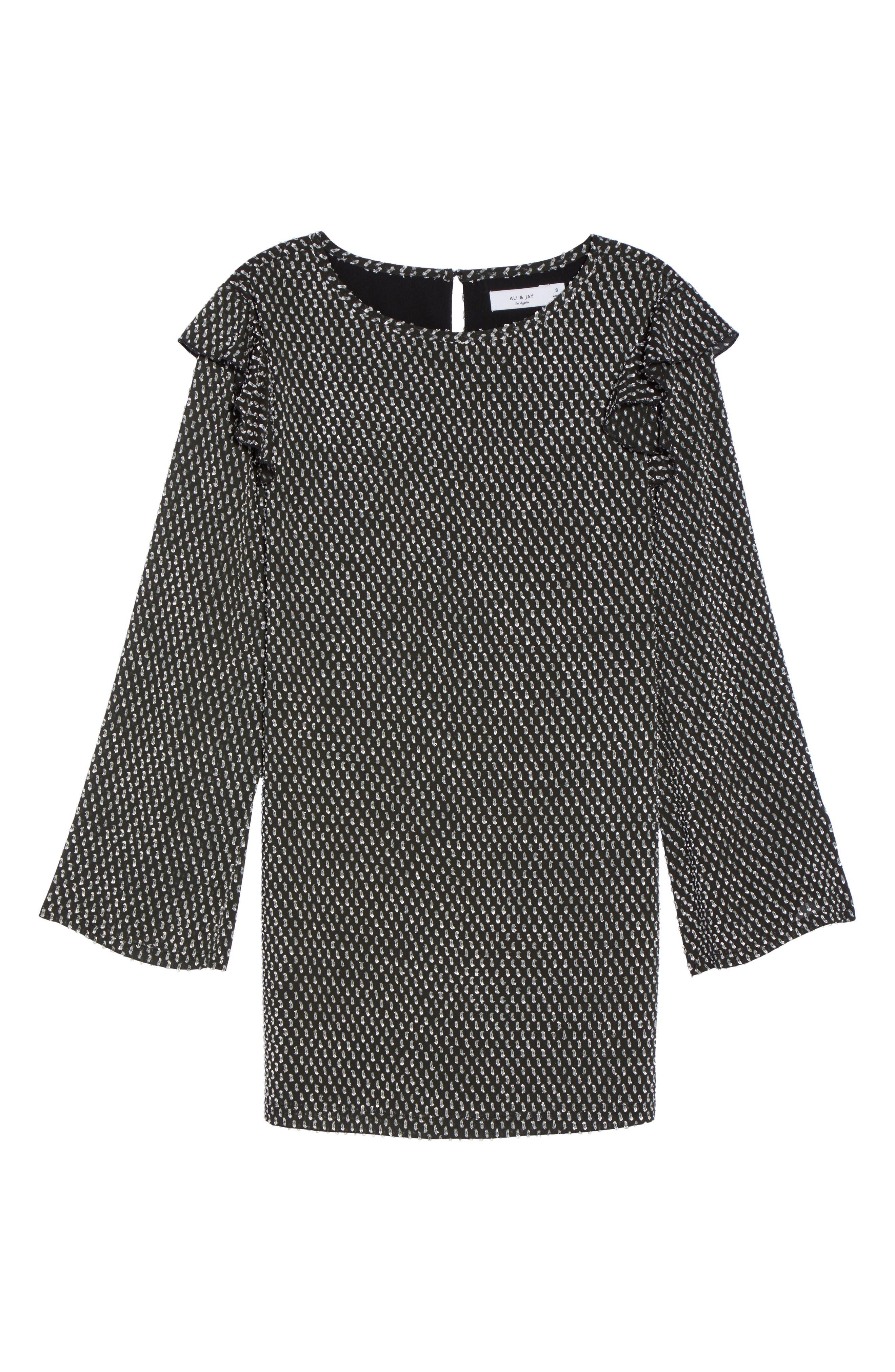 Resys at Felix Shift Dress,                             Alternate thumbnail 7, color,                             Black/ White Dot