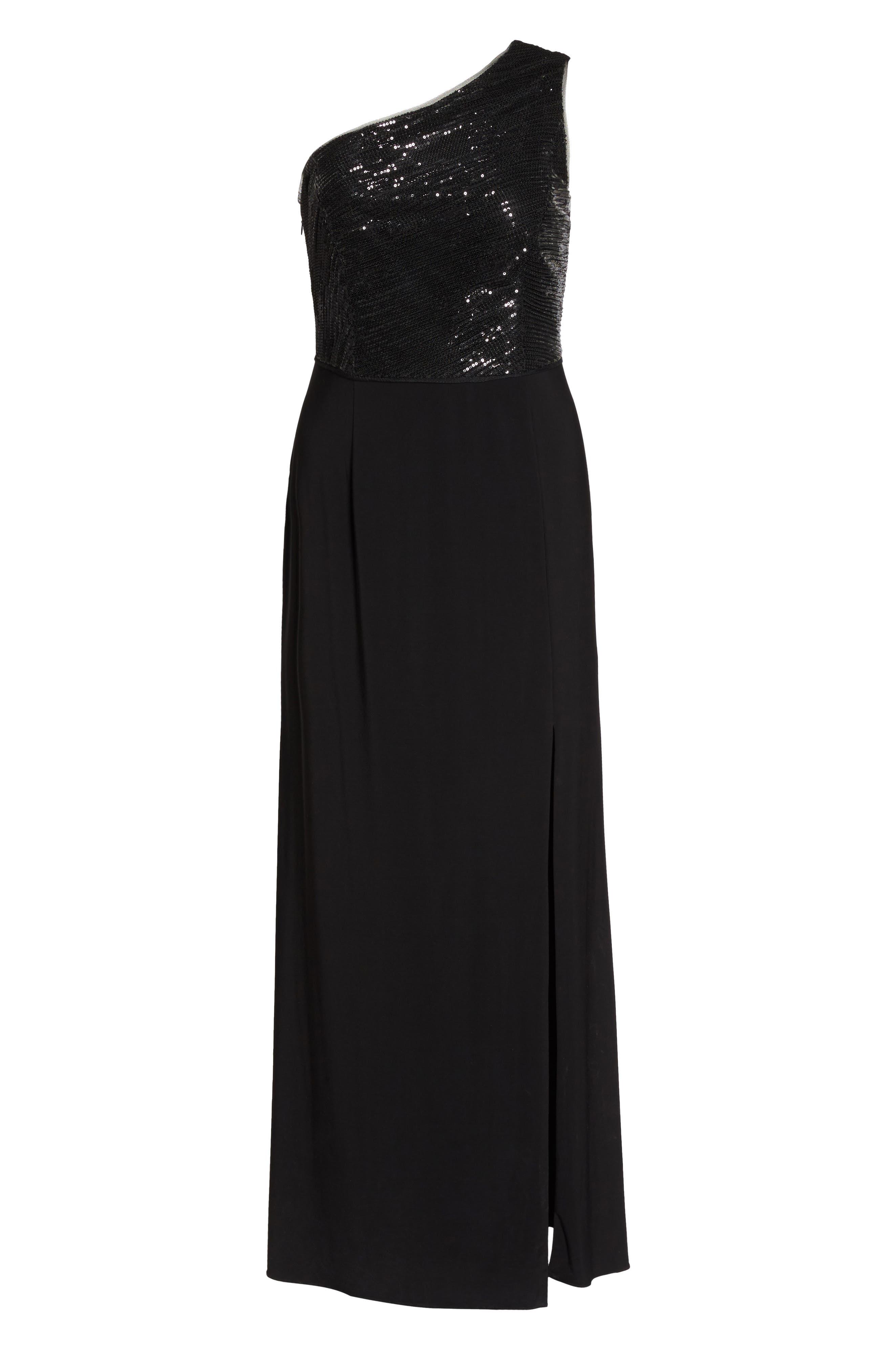 Sequin & Jersey One-Shoulder Gown,                             Alternate thumbnail 6, color,                             Black