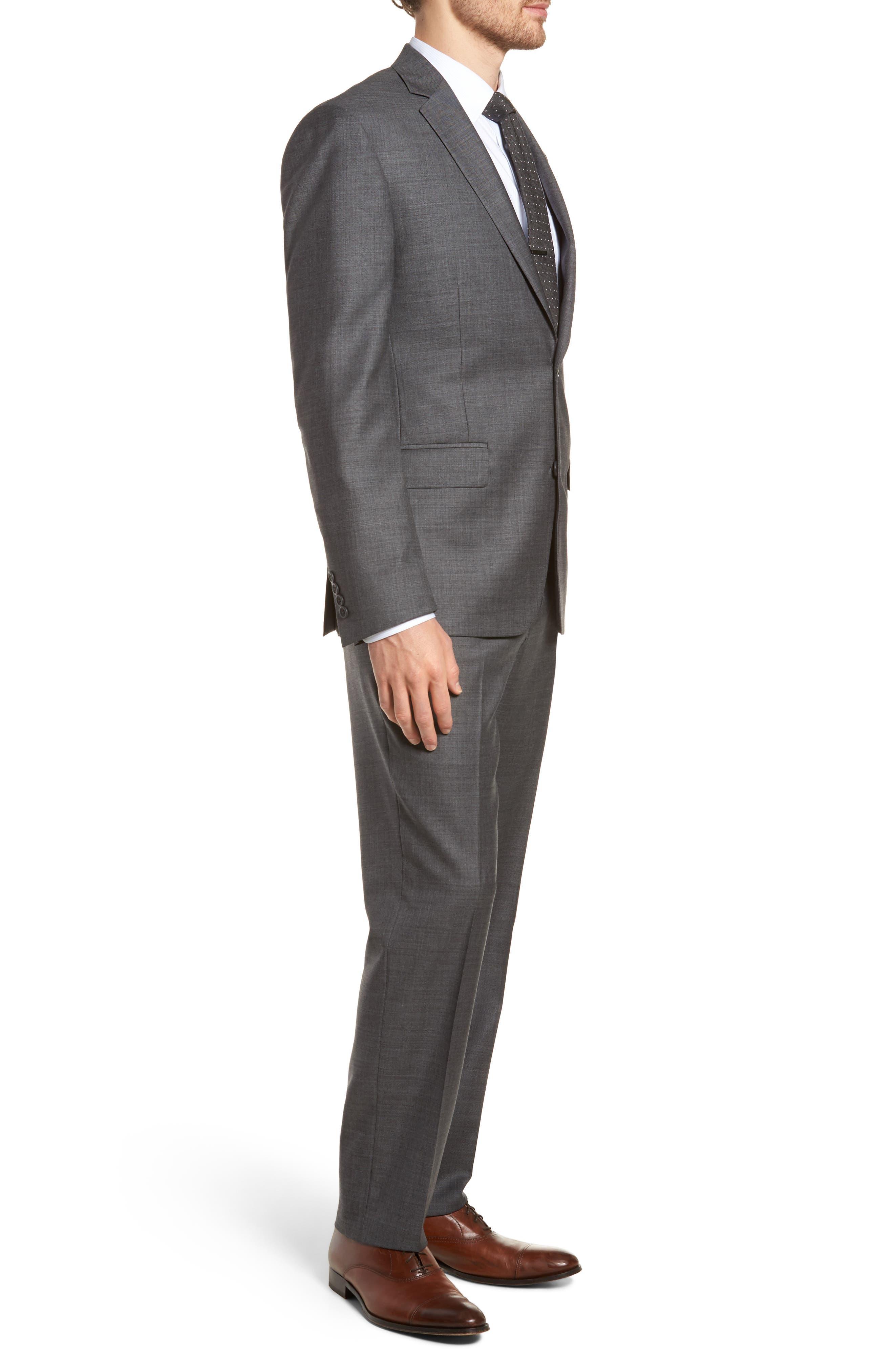 Trim Fit Sharkskin Wool Suit,                             Alternate thumbnail 3, color,                             Mid Char