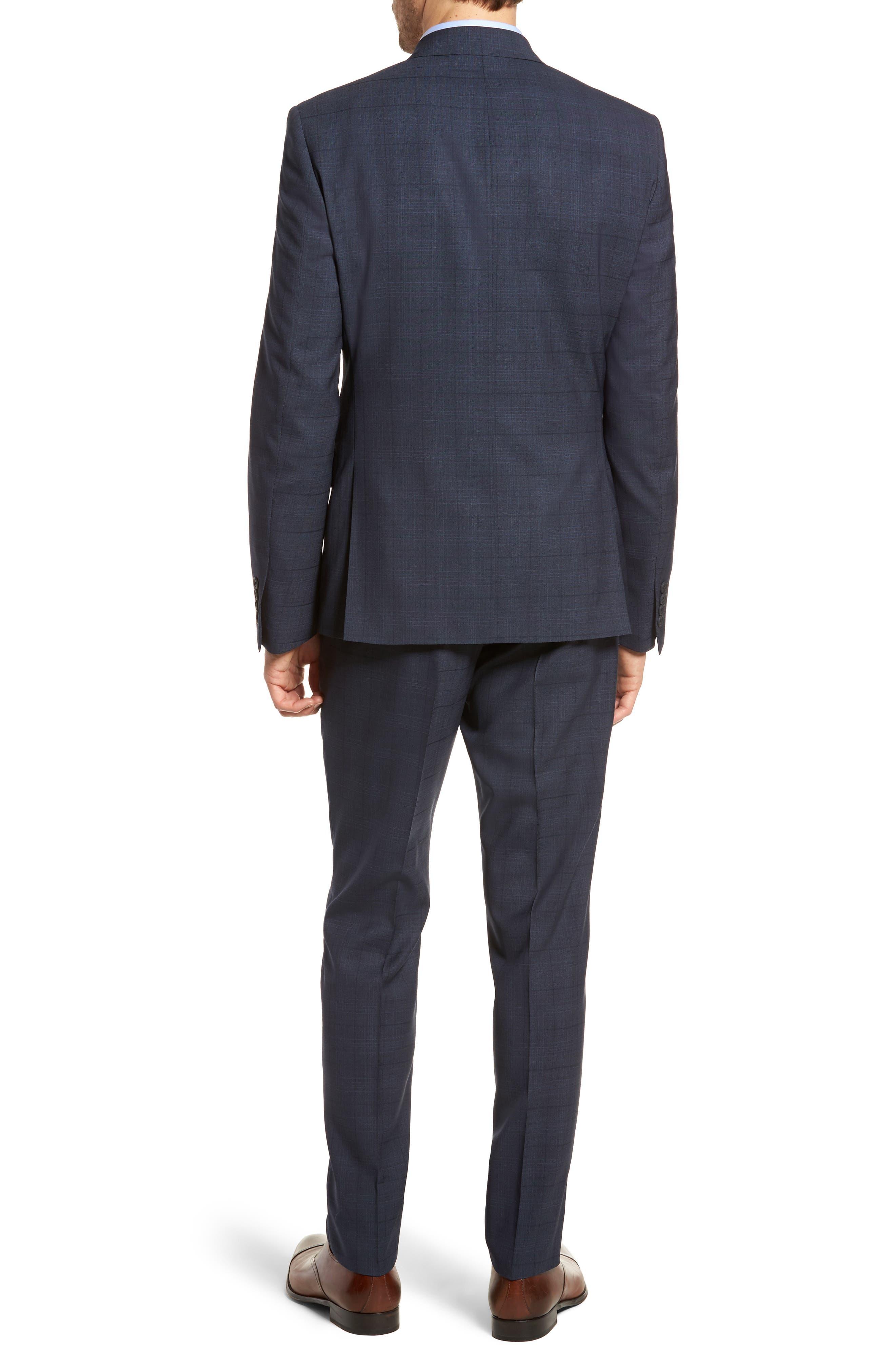 Extra Trim Fit Plaid Wool Suit,                             Alternate thumbnail 2, color,                             Navy Blue