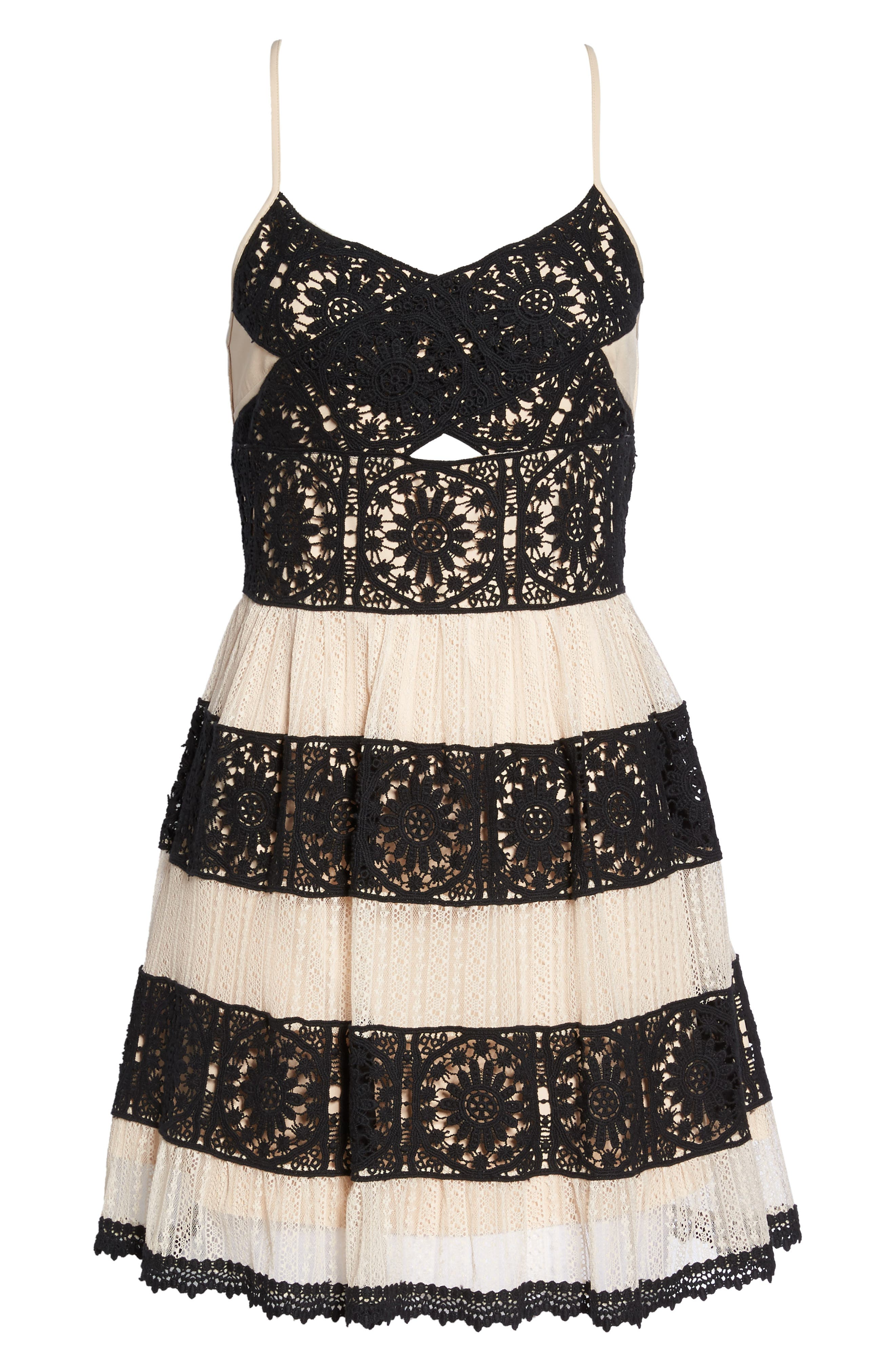 Ophelia Two-Tone Lace Fit & Flare Dress,                             Alternate thumbnail 6, color,                             Black/ Nude