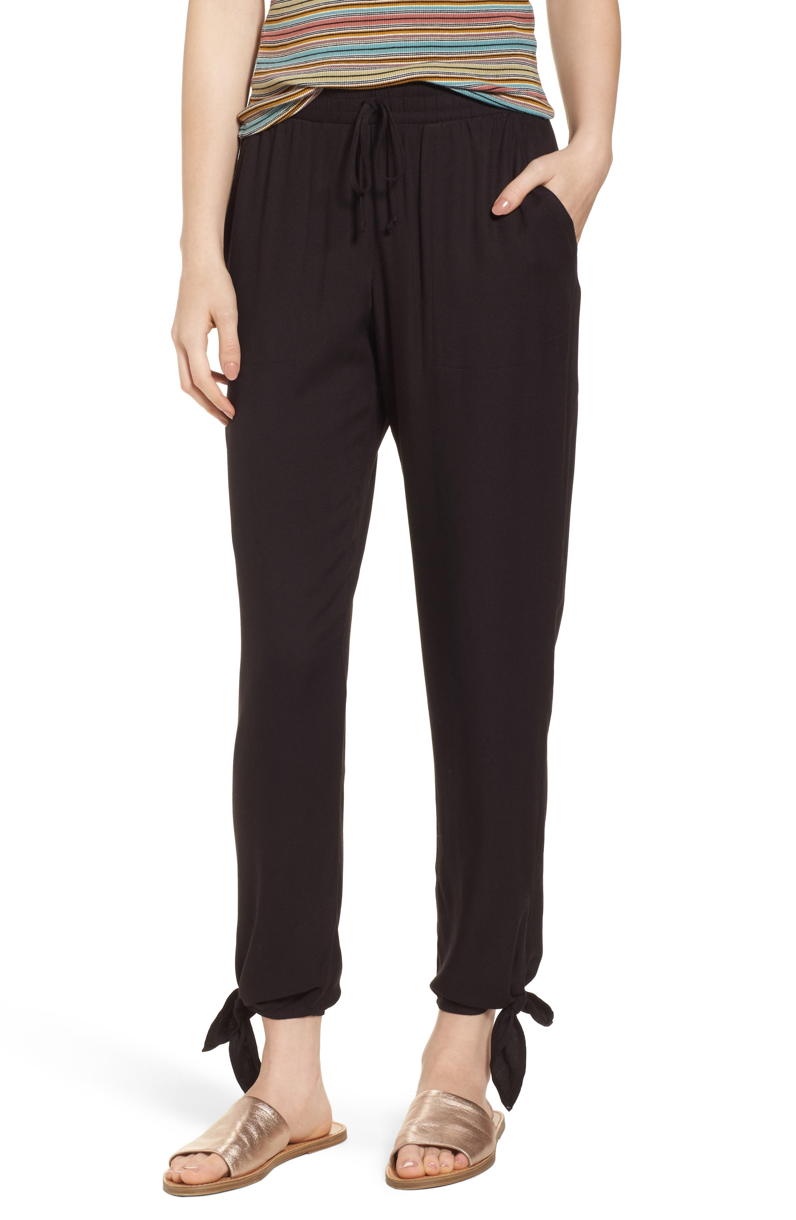 Ankle Tie Pants,                         Main,                         color, Black