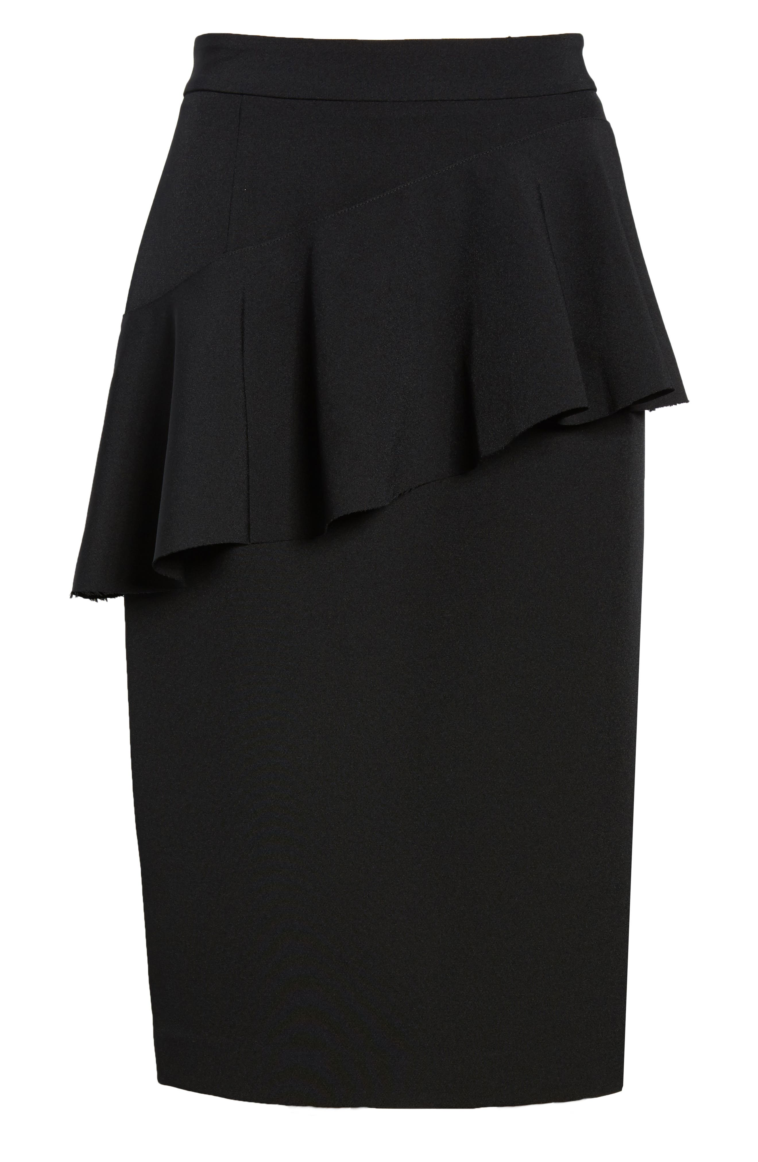 Ruffle Detail Pencil Skirt,                             Alternate thumbnail 6, color,                             Black