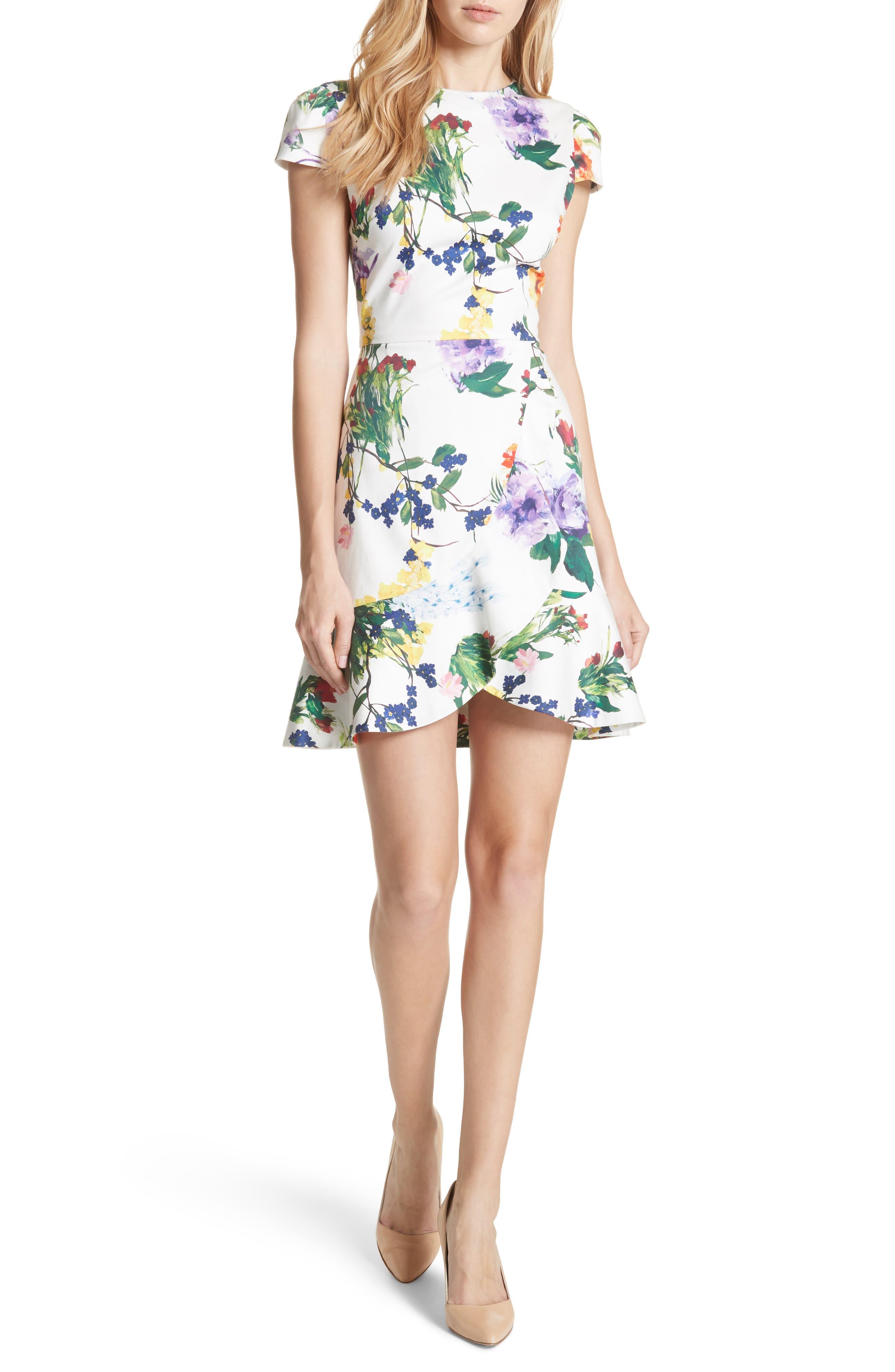 Alice + Olivia Kirby Ruffled Floral Dress