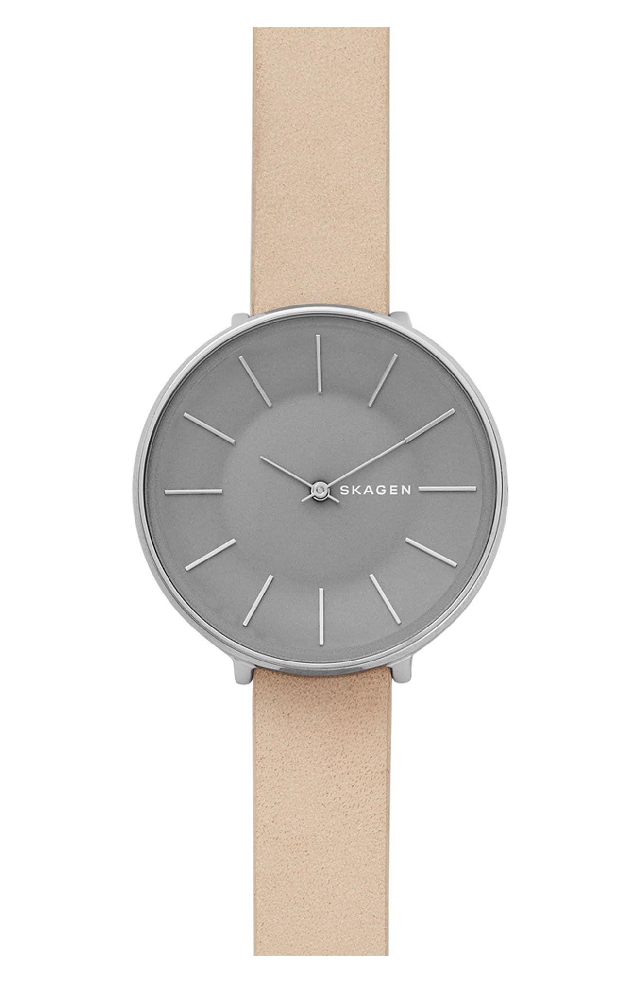 Karolina Leather Strap Watch, 38mm,                         Main,                         color, Nude/ Grey/ Silver