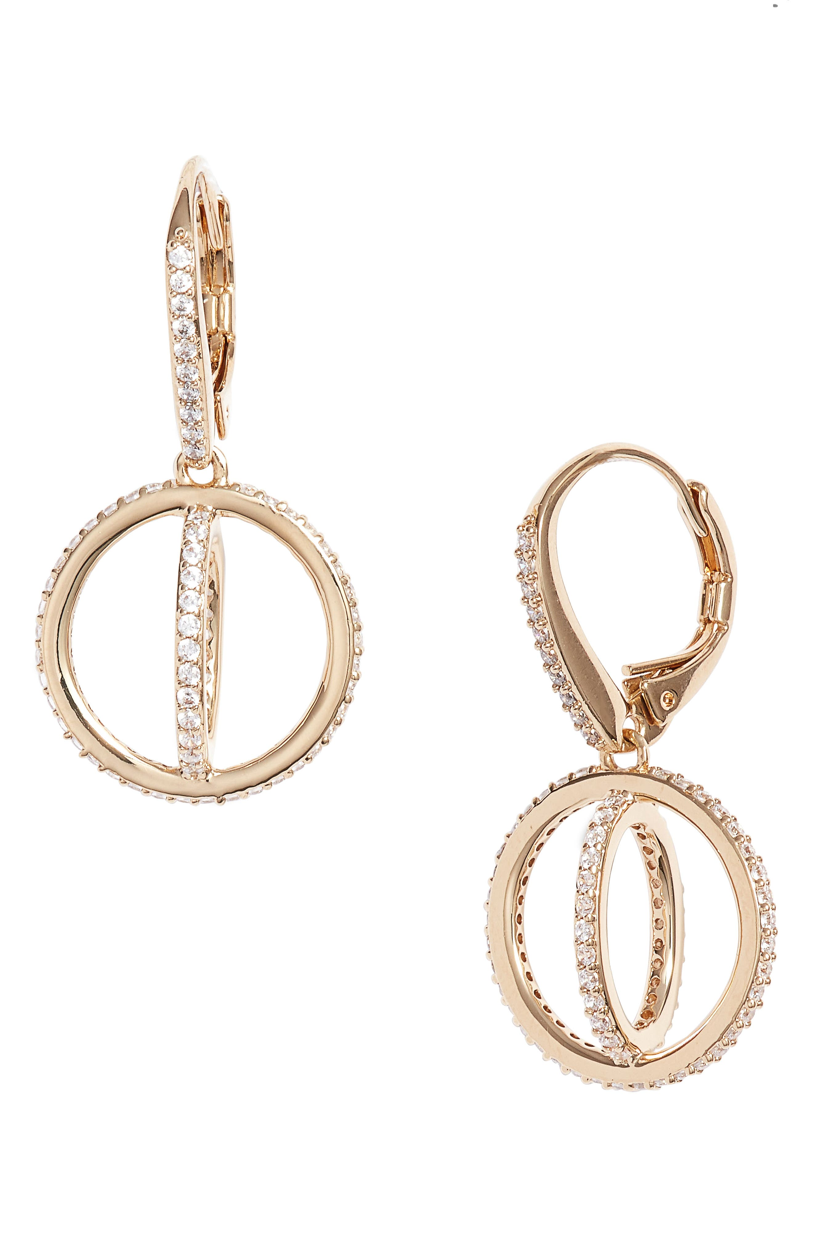 Crystal Open Circle Drop Earrings,                             Main thumbnail 1, color,                             Gold/ Clear